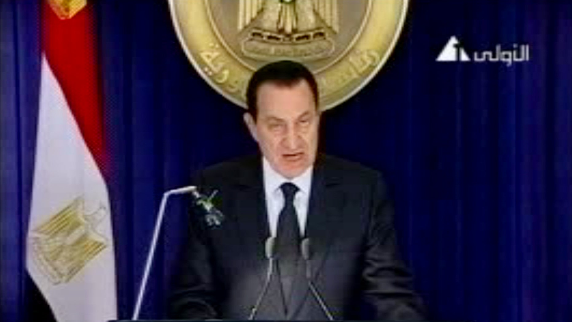 Jan. 28: In this image made from video broadcast, Egyptian President Hosni Mubarak appears on television saying he has asked his Cabinet to resign, in his first appearance on television since protests erupted demanding his ouster. (AP)