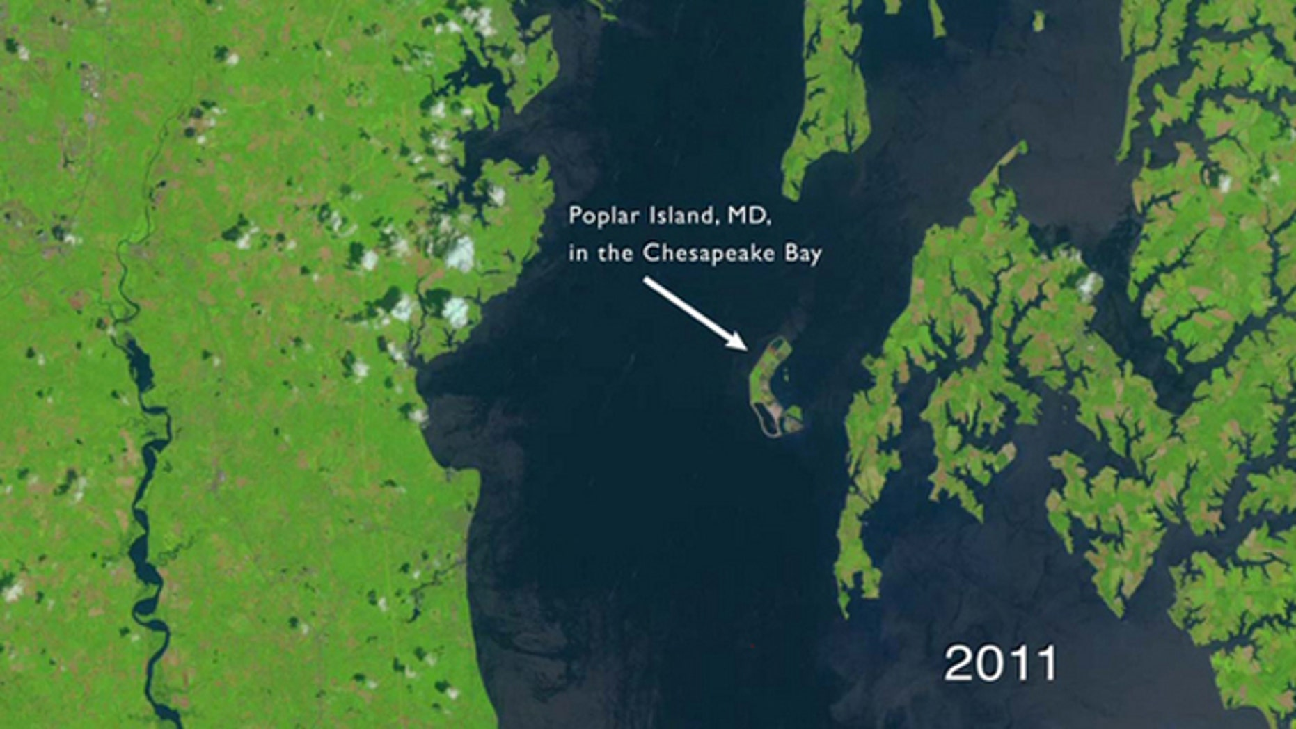 This still from a NASA video shows the view from space of Poplar Island, Md., in Chesapeake Bay off the Maryland Coast as seen by a Landsat satellite in 2011.