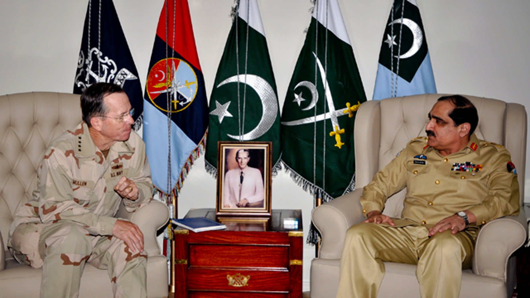 April 20: In this photo released by Inter Services Public Relations, Joint Chiefs of Staff Chairman Adm. Mike Mullen listens to Pakistan's Joint Chiefs of Staff Committee Chairman Gen. Khalid Shameem Wynne during a meeting in Rawalpindi, Pakistan.