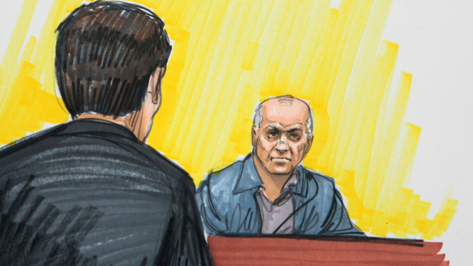 May 23, 2011:  In this file courtroom sketch, David Coleman Headley is shown in federal court in Chicago. Headley, who was convicted of charges related to a central role he played in the 2008 terrorist attacks in Mumbai, India.