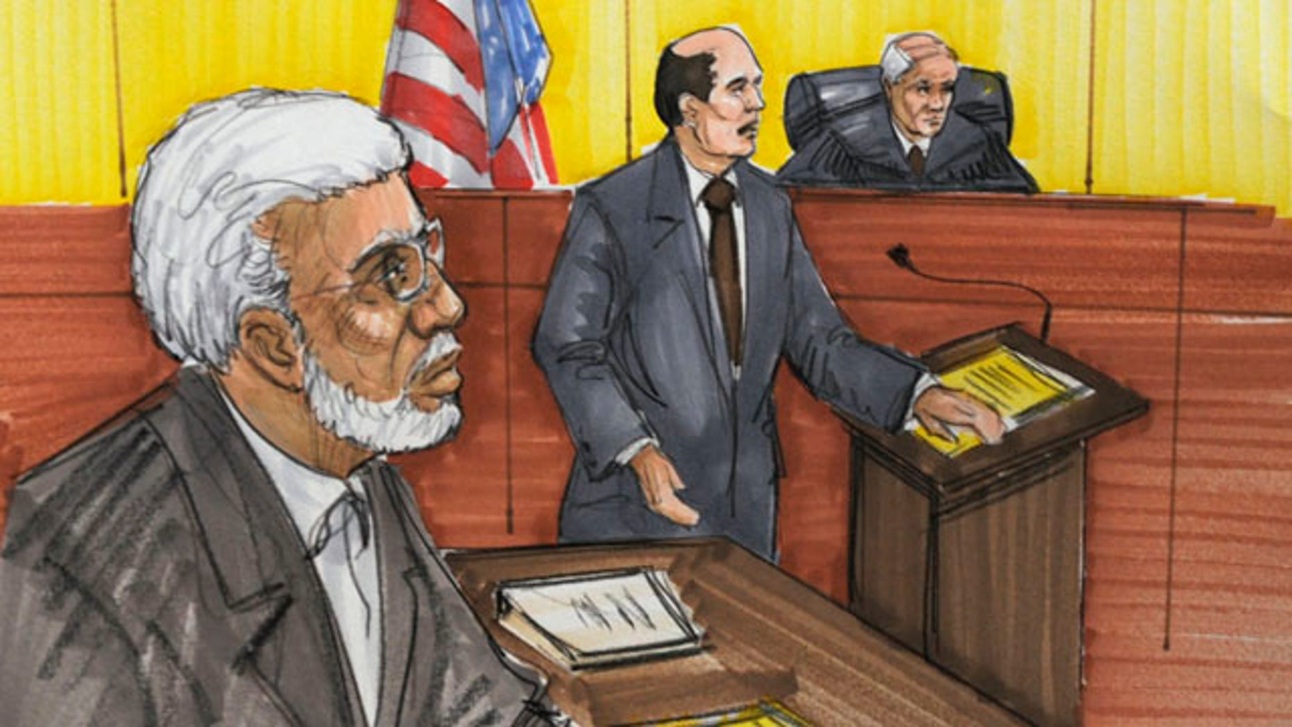 In this courtroom sketch, Chicago businessman Tahawwur Rana is shown in federal court on Tuesday in Chicago.