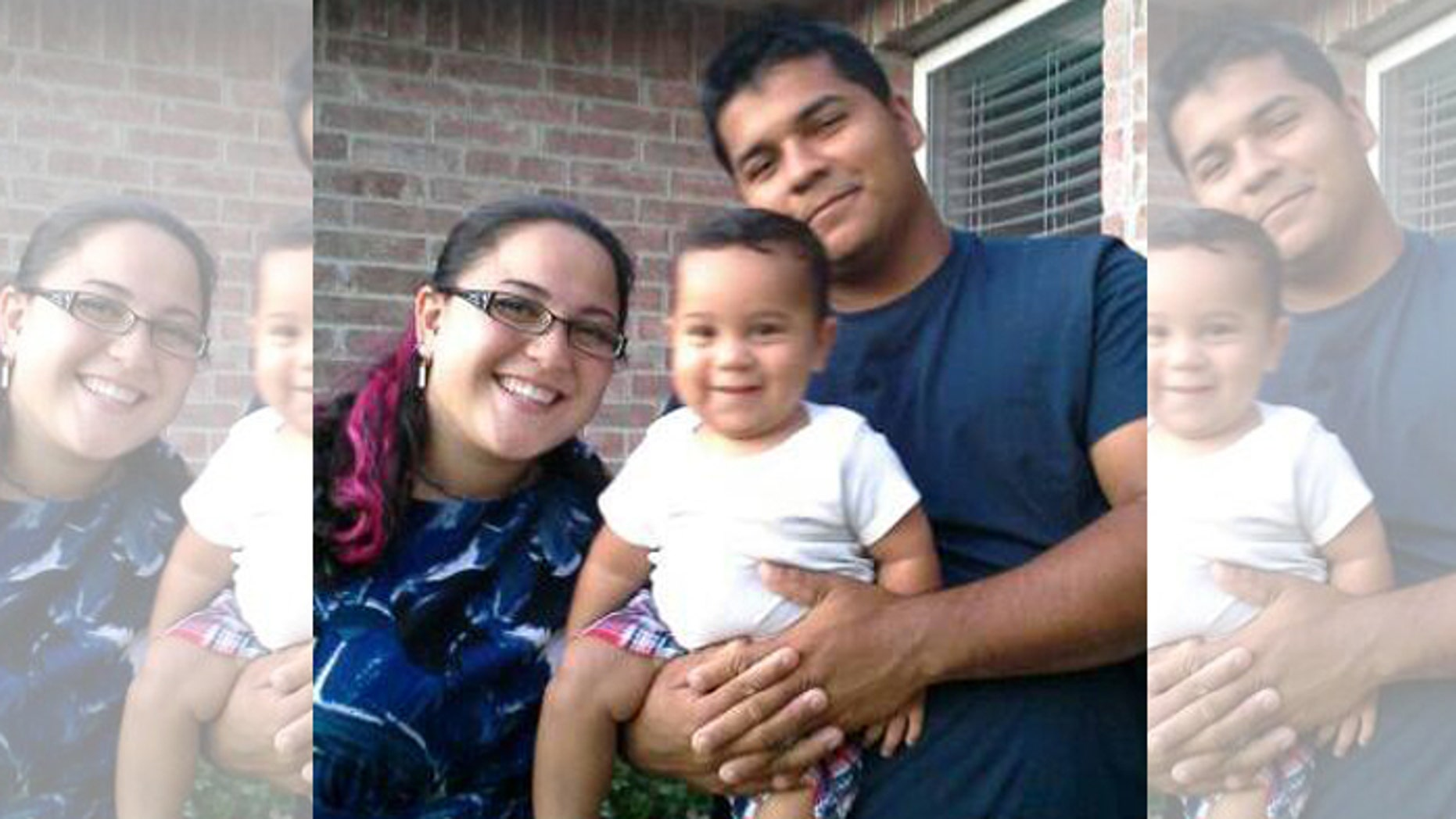 Marlise Munoz, left, her husband Erick, right, and their one-year-old child in Aug. 2013.