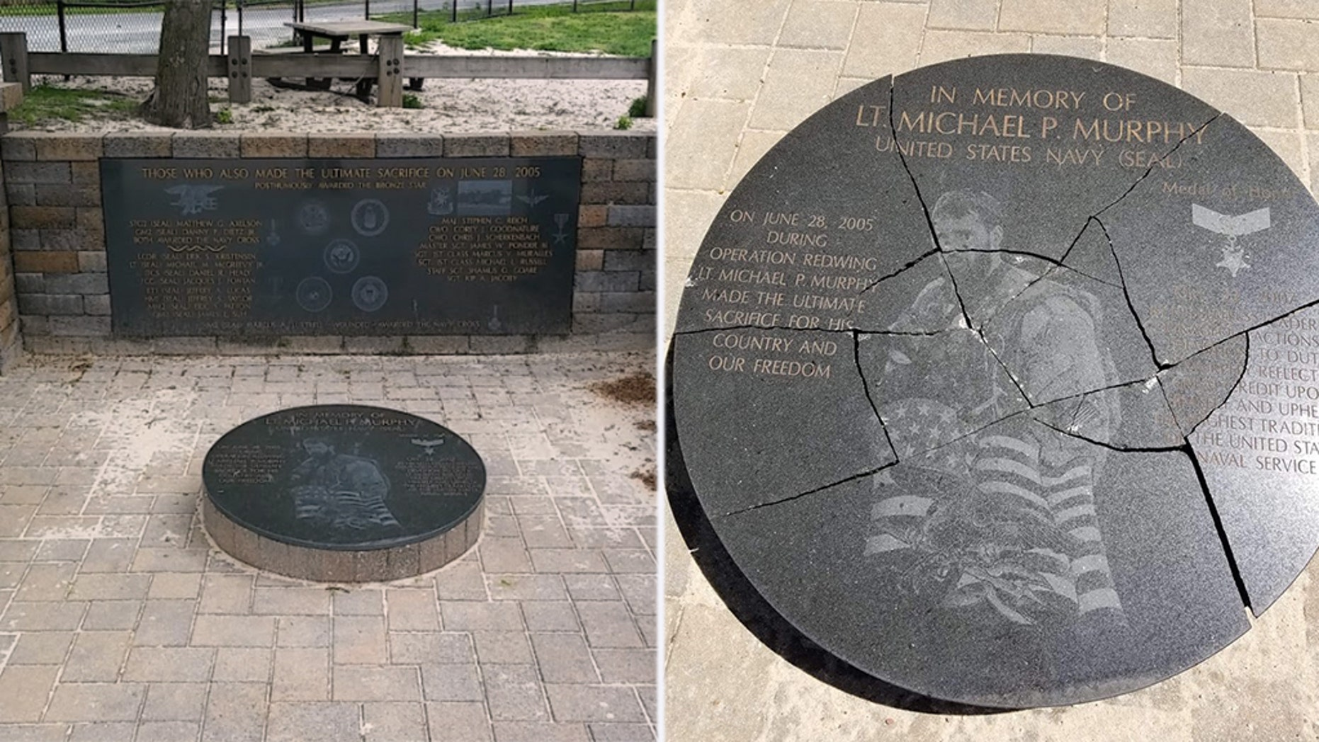 "Suffolk County Police received a call on Thursday that the Lt. Michael P. Murphy Memorial Park in Lake Ronkonkoma had been ""vandalized."""
