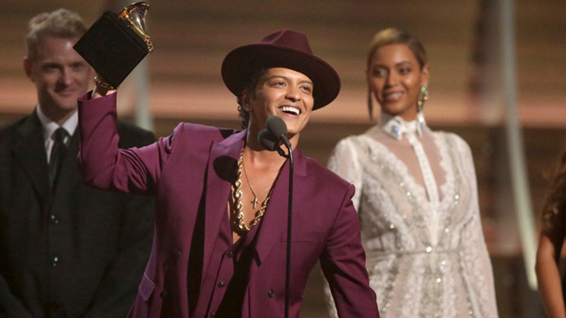 Bruno Mars at the Grammy Awards on Feb. 15, 2016.