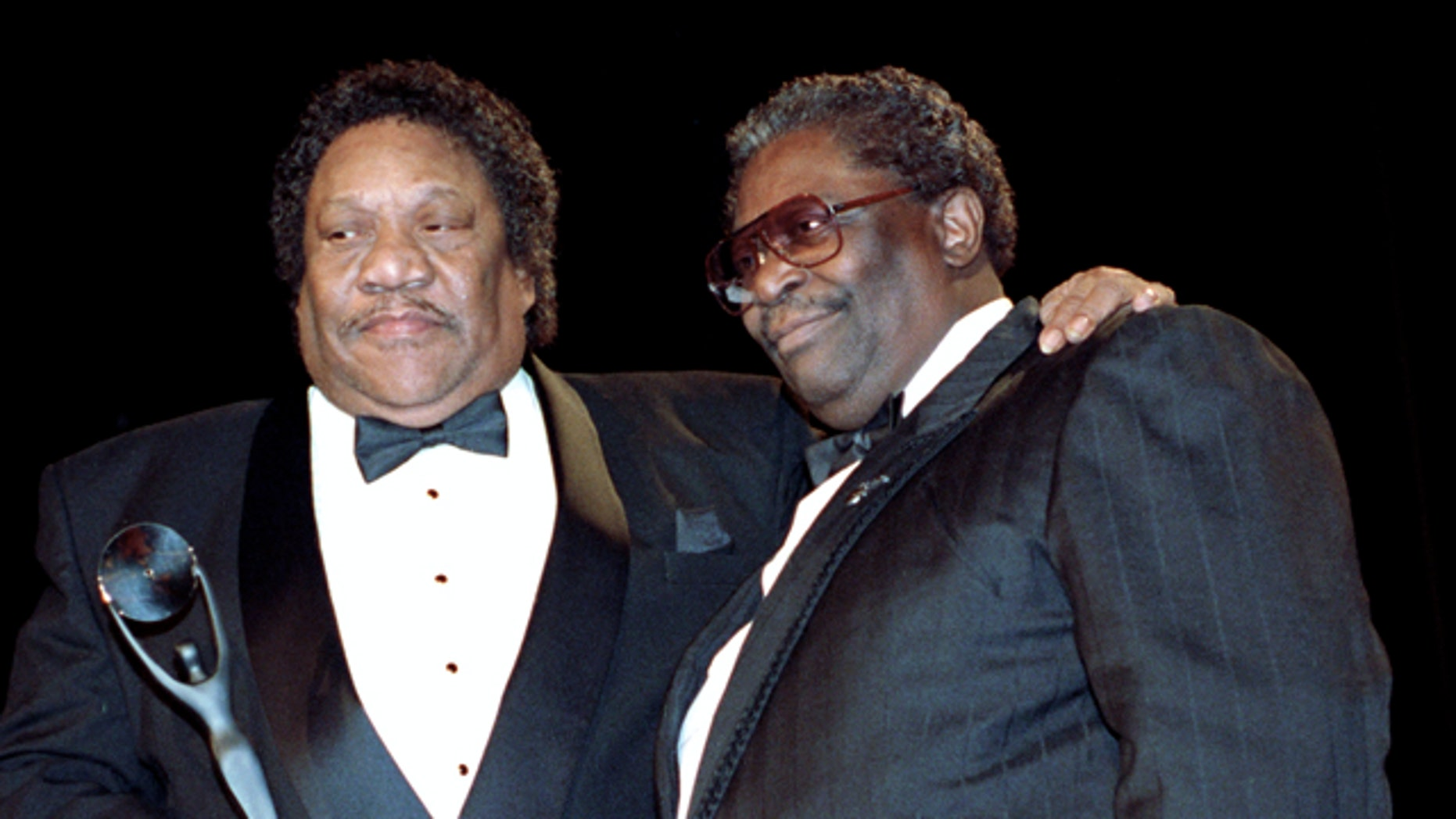 """Bobby """"Blue"""" Bland, left, receives his award for the Rock and Roll Hall of Fame from B.B. King during induction ceremonies in New York."""