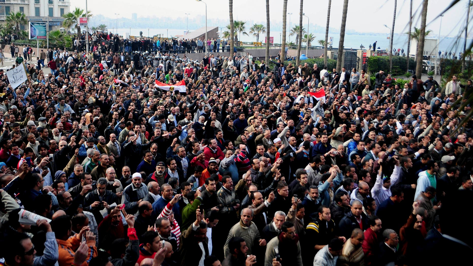 Jan. 28: A crowd demonstrates in Alexandria, Egypt. Thousands of Alexandrians met to pray Sunday Jan 30 in downtown Alexandria, a Mediterranean port city that is a stronghold of the Muslim Brotherhood. After prayers, the crowd marched towards the city's old mosque to pray for the souls of those who died in the protests. (AP)