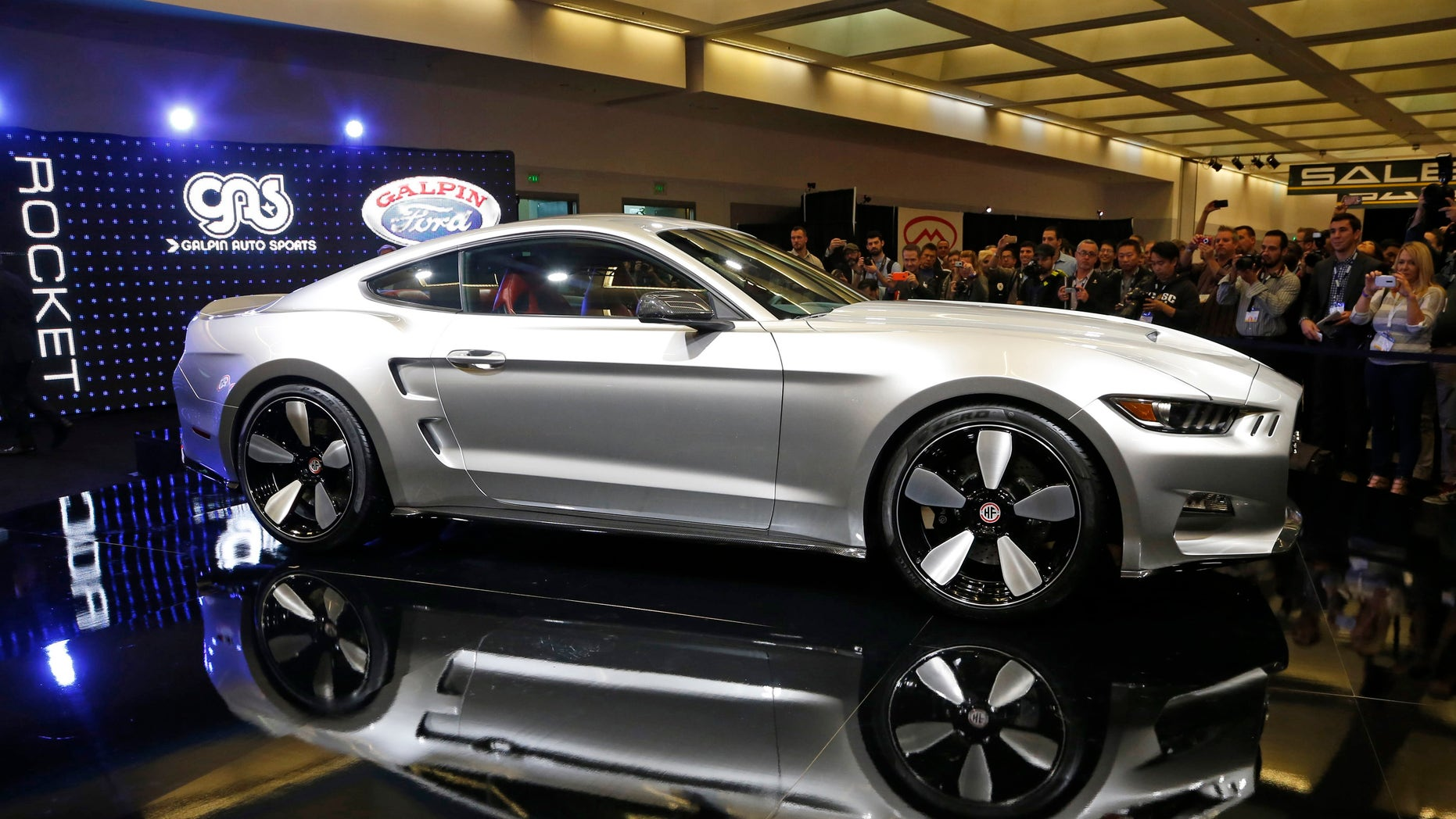 A 2015 Ford Mustang from Denmark's Henrik Fisker and California tuning company Galpin Auto Sports called 'Rocket' is unveiled at its world premiere at the Los Angeles Auto Show in Los Angeles, California November 20.