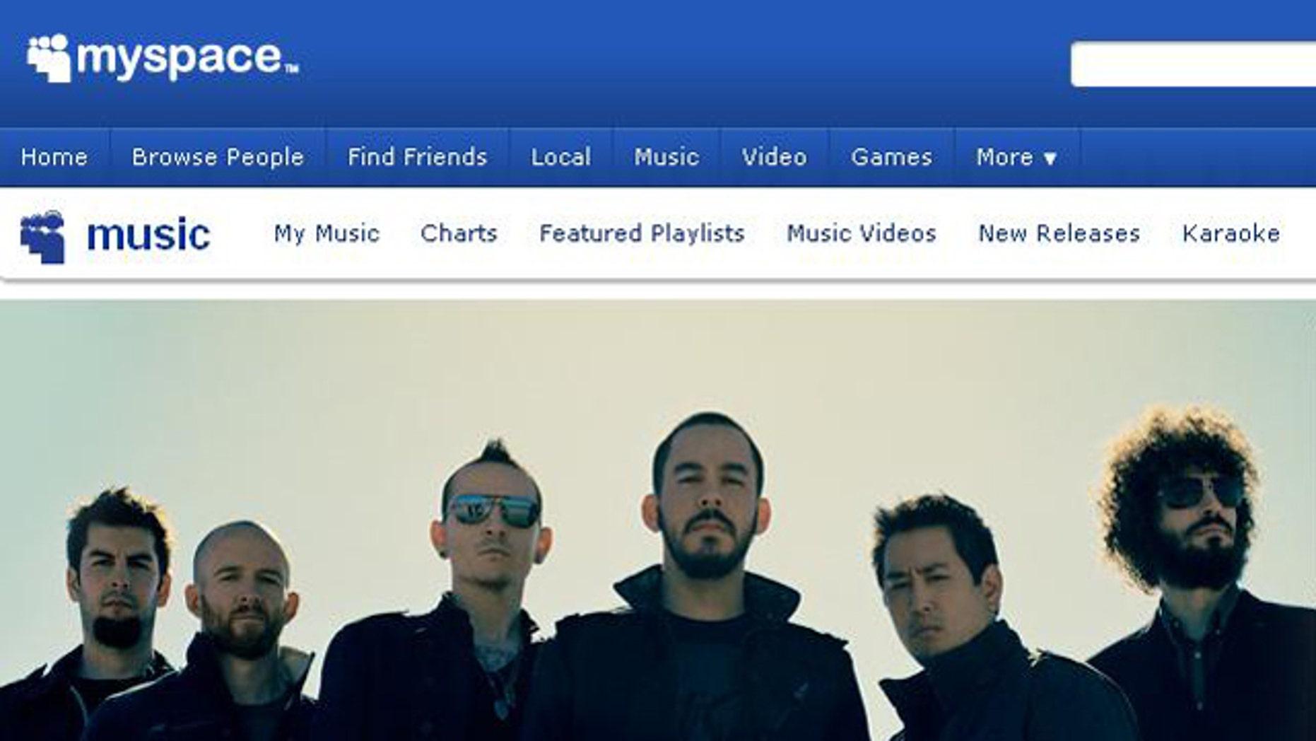 A screen capture of the MySpace Web site.