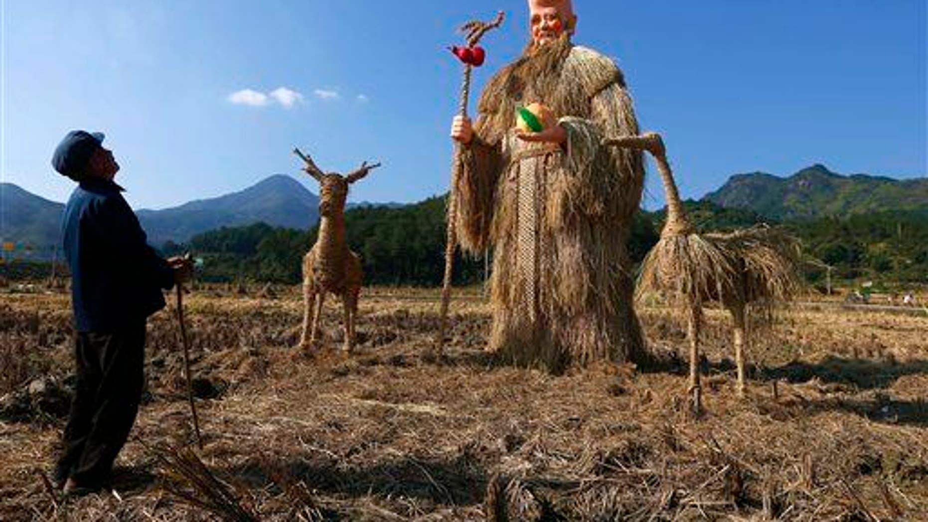 A farmer looks at scarecrows made in the image of a Chinese god in Yongjia county in China's Zhejiang province. Kawasaki disease has been shown to originate in yeast from Chinese fields.