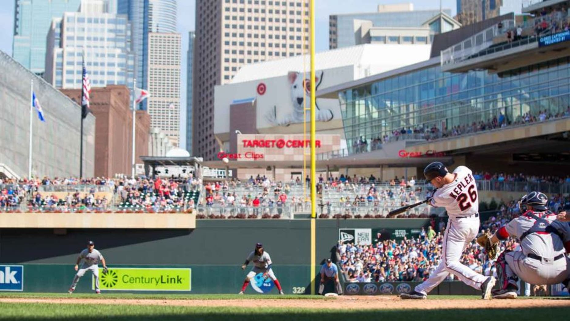 Sunday, June 12, 2016: Minnesota Twins outfielder Max Kepler hits a three-run walkoff home run in the 10th inning against the Boston Red Sox at Target Field. It was his first major league home run.