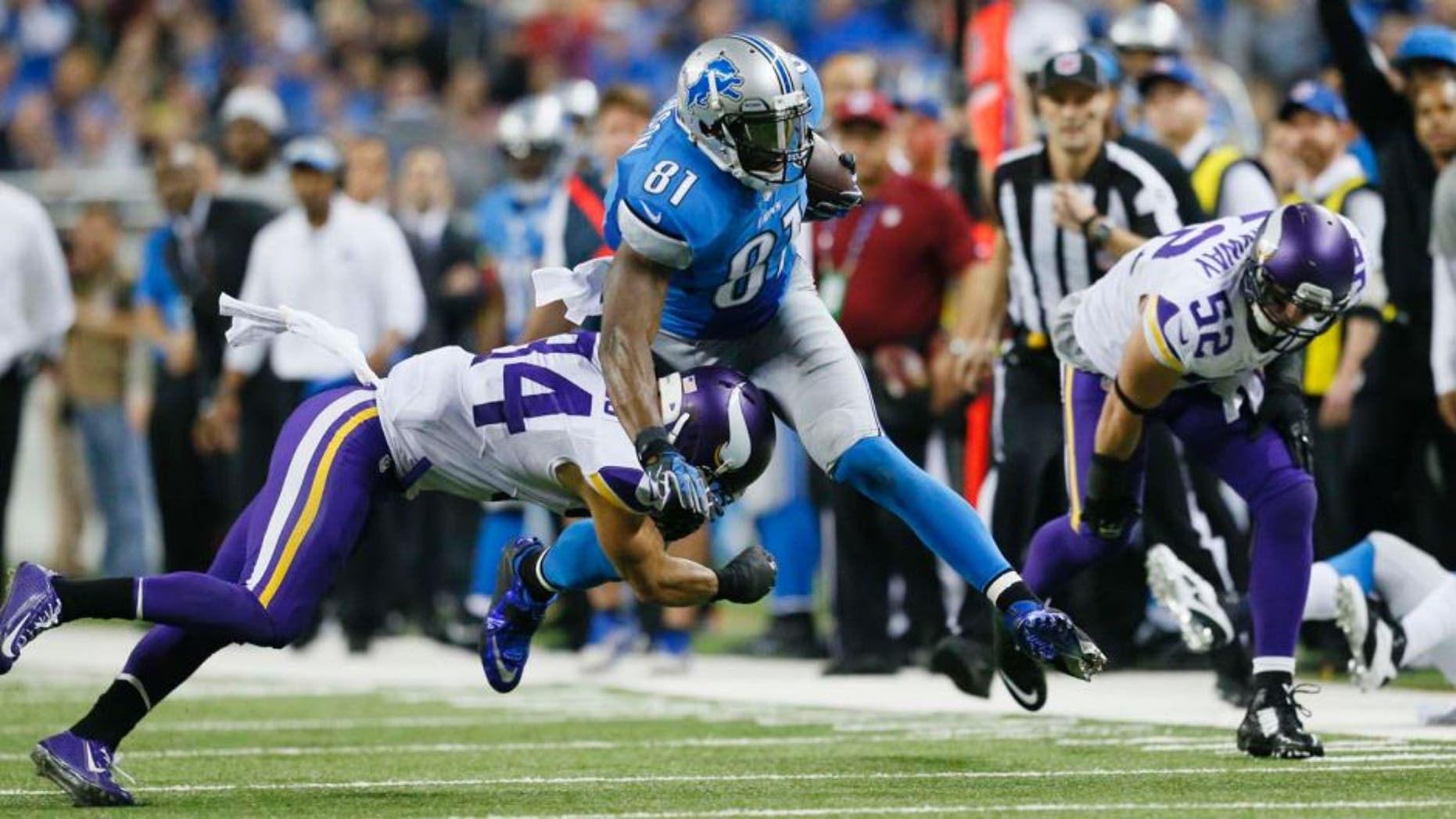 Sunday, December 14: Detroit Lions wide receiver Calvin Johnson (center) is tackled by Minnesota Vikings free safety Andrew Sendejo (left) and outside linebacker Chad Greenway during the second half.