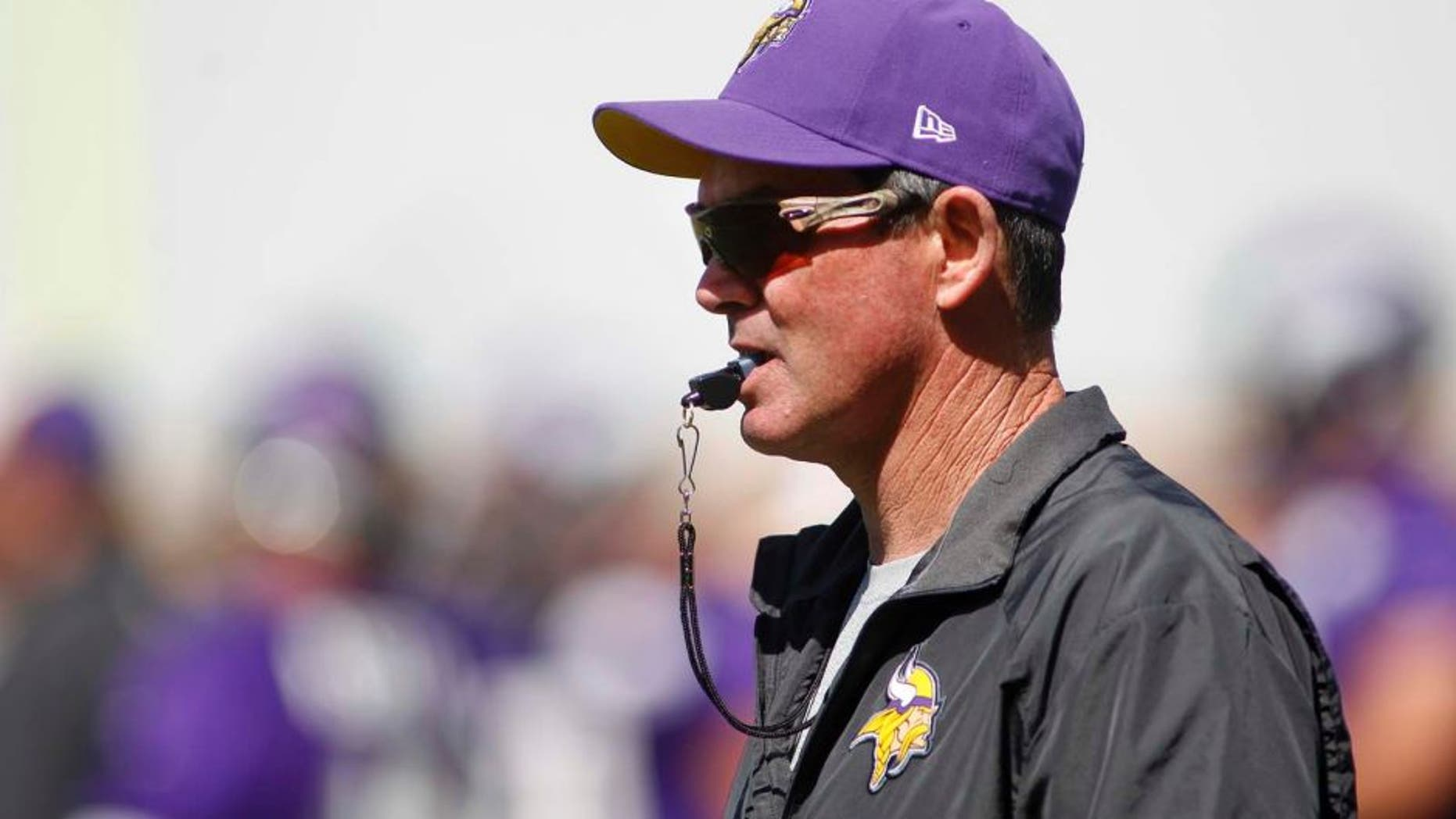 Thursday, May 29: Minnesota Vikings head coach Mike Zimmer watches at an organized team activity (OTA) at the Vikings football practice facility in Eden Prairie, Minn.