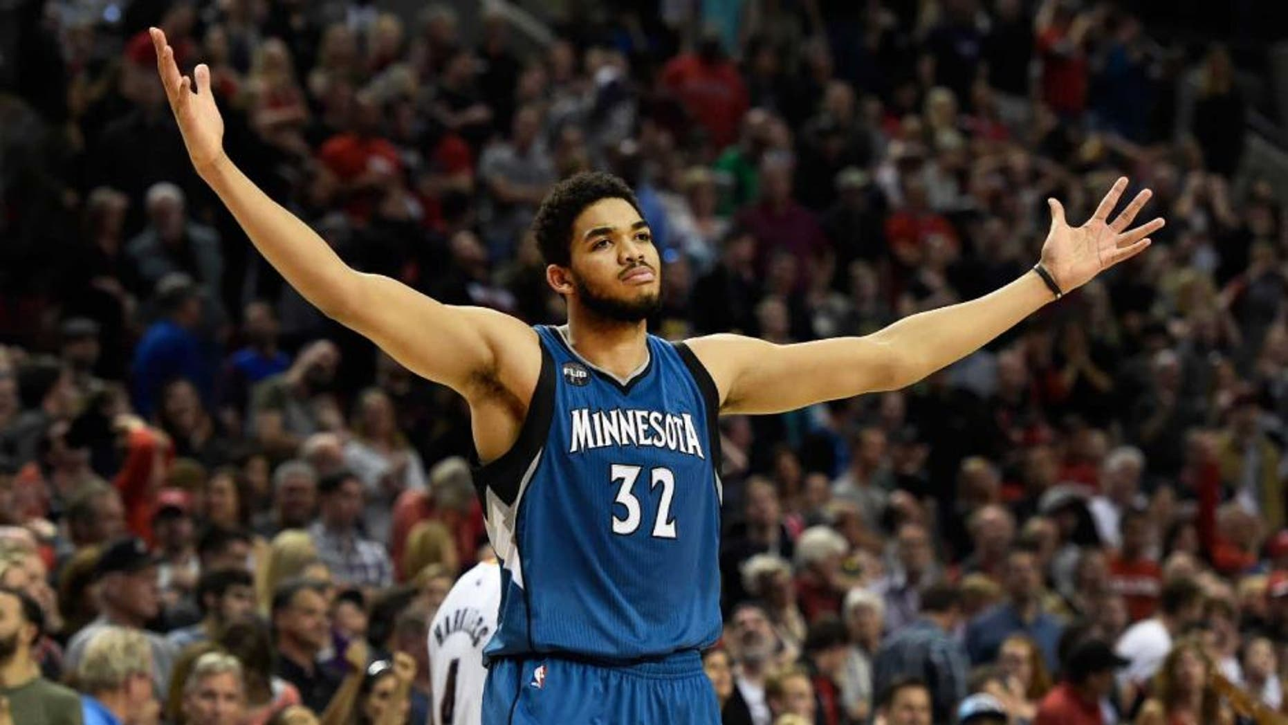 Saturday, April 9: Minnesota Timberwolves center Karl-Anthony Towns celebrates after hitting the game-winning shot against the Portland Trail Blazers.