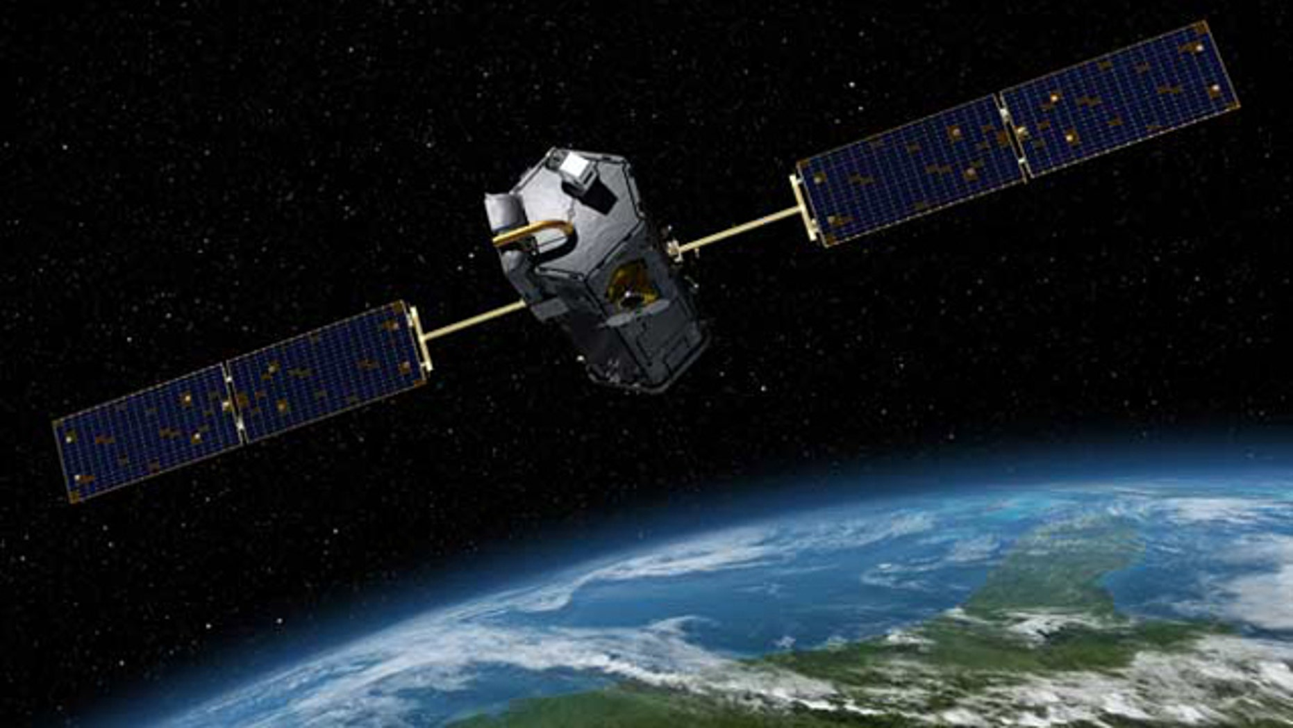 An artist's conception of the Orbiting Carbon Observatory.