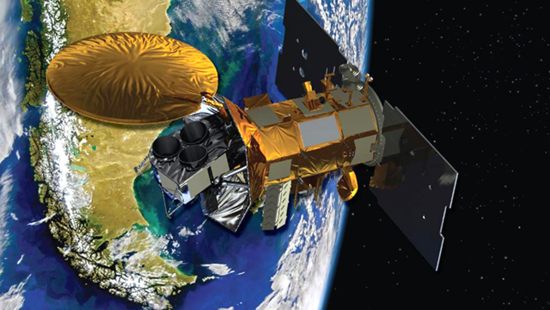 This image provided by NASA shows an artist's conception of the Aquarius/SAC-D spacecraft, a collaboration between NASA and Argentina's space agency, with participation from Brazil, Canada, France and Italy. Aquarius, the NASA-built primary instrument on the spacecraft, will take NASA's first space-based measurements of ocean surface salinity, a key missing variable in satellite observations of Earth that links ocean circulation, the global balance of freshwater and climate.