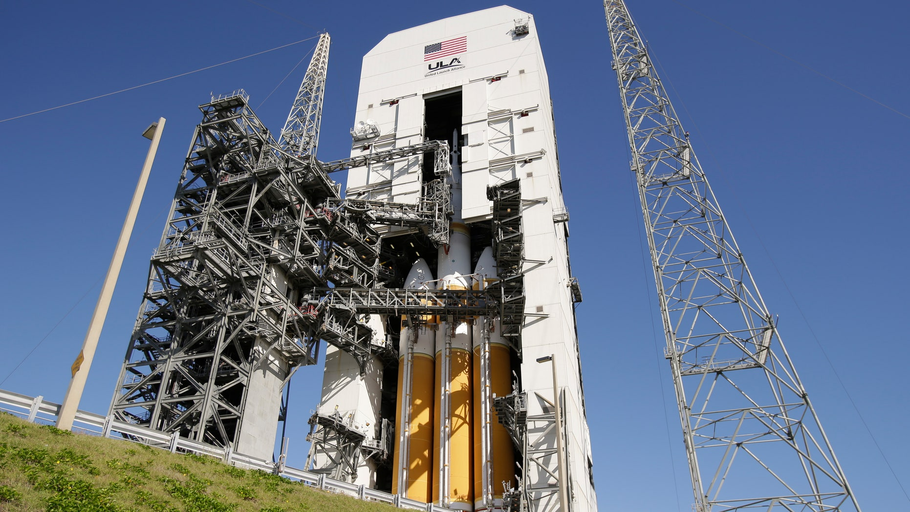 Dec. 3, 2014: The NASA Orion space capsule is seen atop a Delta IV rocket ready for a test launch at the Cape Canaveral Air Force Station.