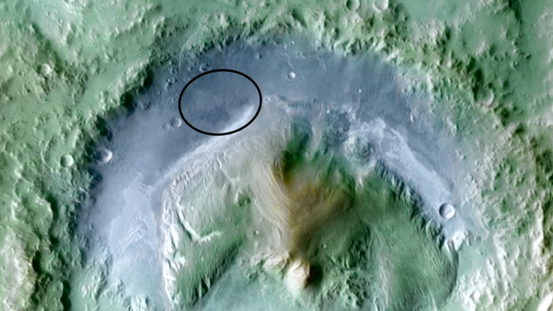 A color-enhanced image of the Gale Crater -- one of four proposed sites for the landing of the next Mars rover. After years of poring through images from space to decide where to send the next Mars rover, it comes down to four choices.