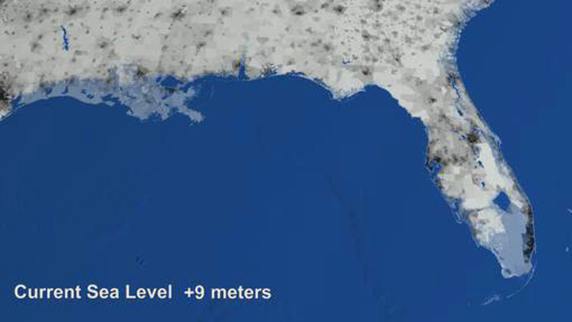 "In a NASA ""what-if"" animation, light-blue areas in southern Florida and Louisiana indicate regions that may be underwater should sea levels rise dramatically."