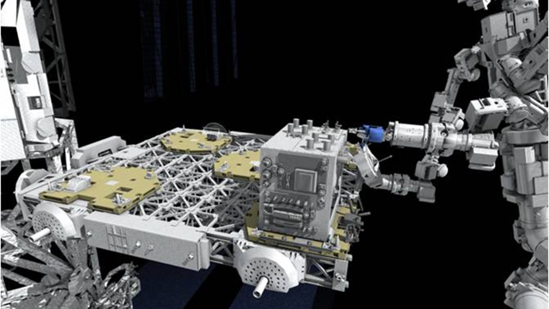 The Dextre robot will help affix NASA's Robotic Refueling Mission experiment to the International Space Station's ExPRESS Logistics Carrier-4.