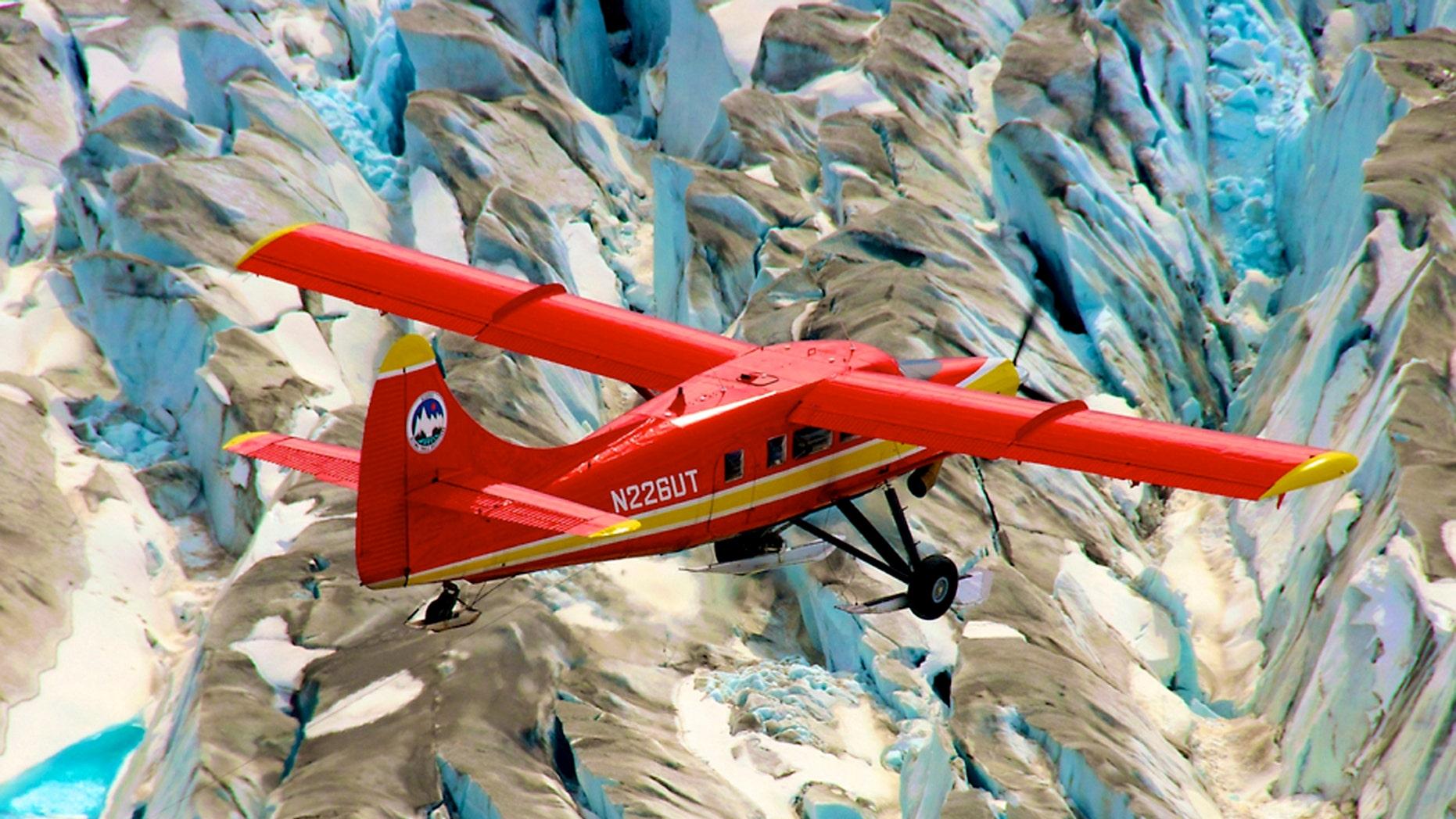 NASA's DHC-3 Otter plane flies in Operation IceBridge-Alaska surveys of mountain glaciers.