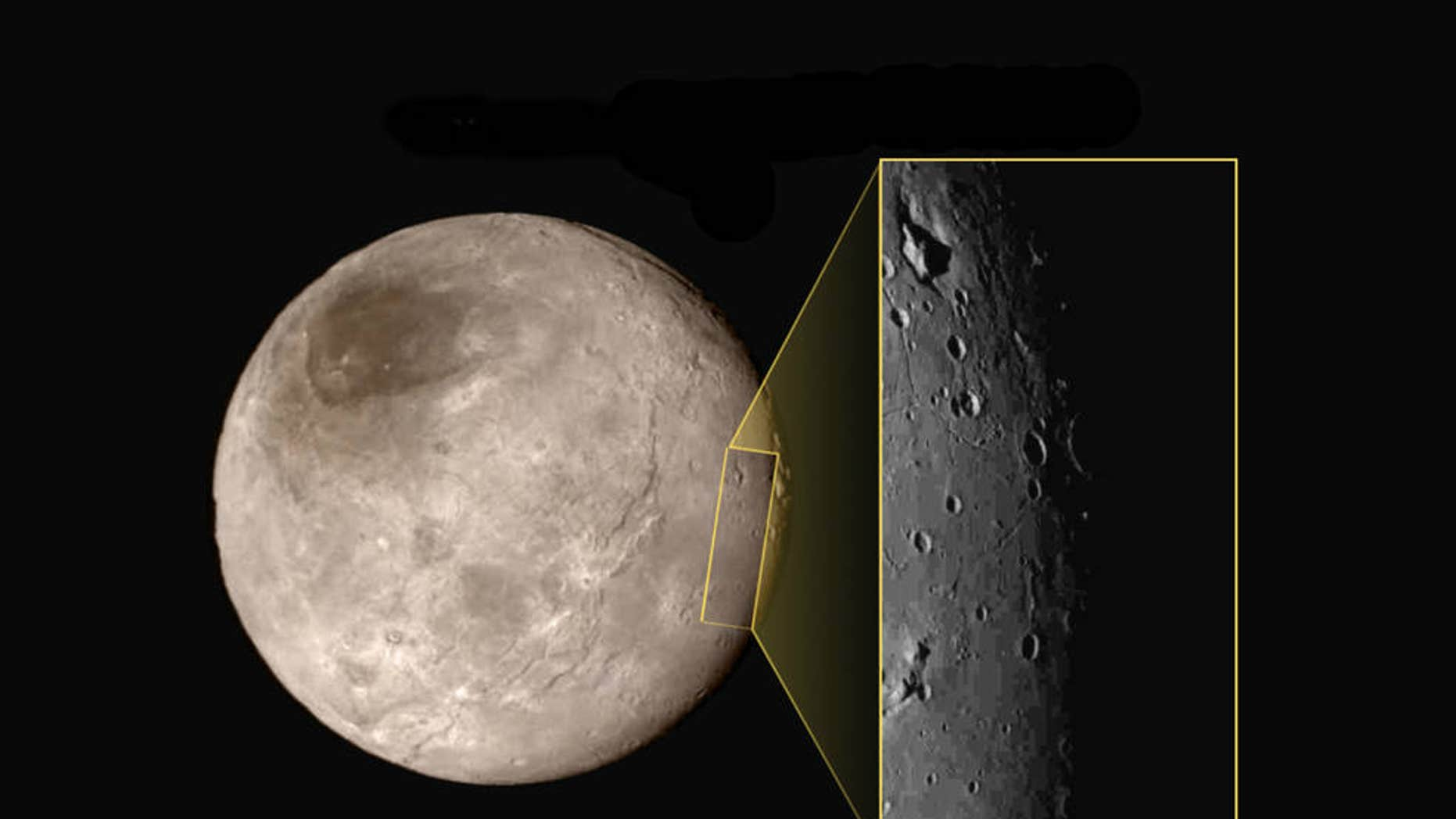 Closeup image of an area on Pluto's largest moon Charon.