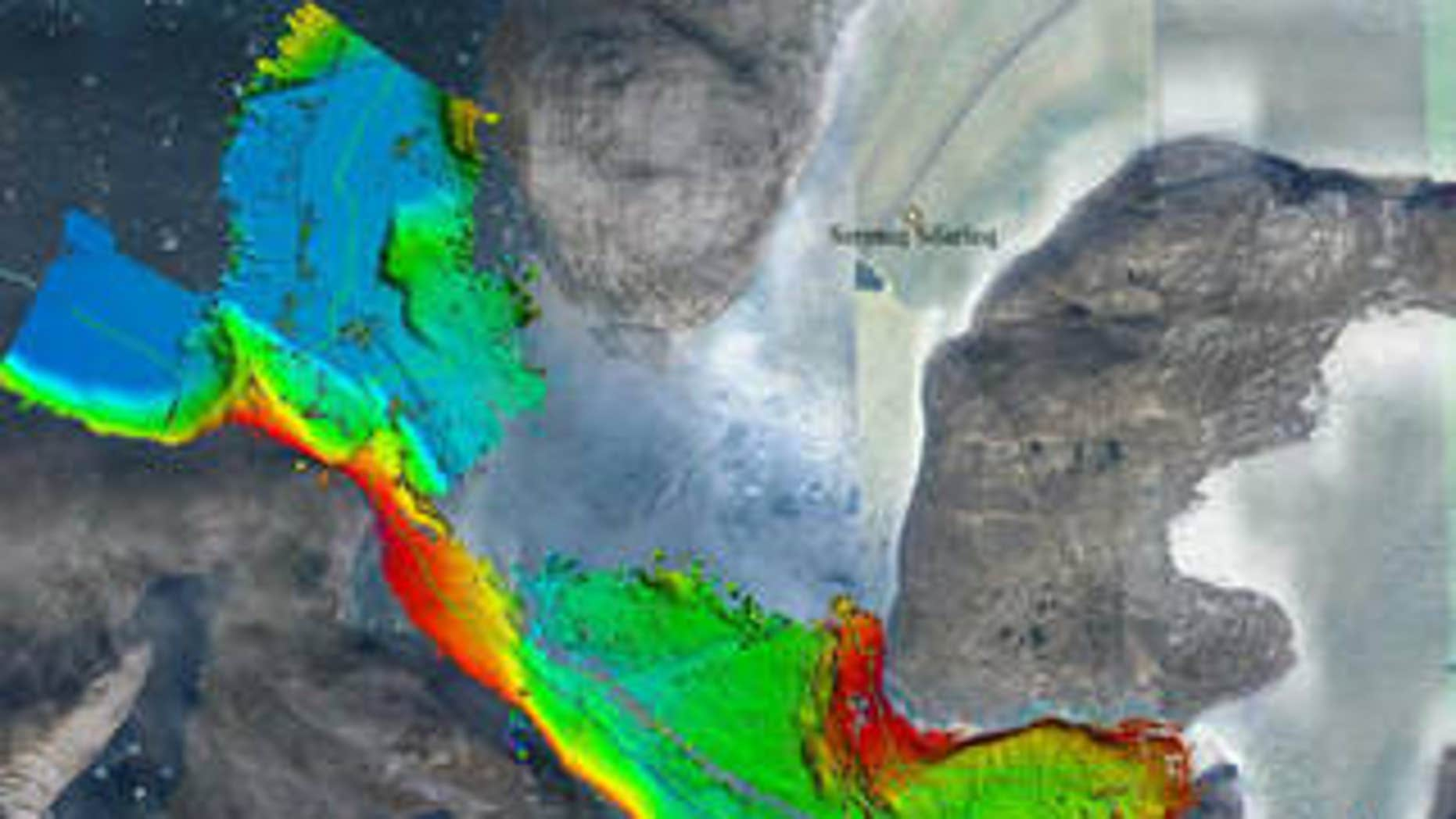 Seafloor depths on Greenland's west coast, measured by sonar aboard a research ship as part of the OMG project. Red and yellow are shallower areas, greens and blues deeper. The thin green line is the ship's path. The data give a better idea of where warm ocean water can reach glaciers.