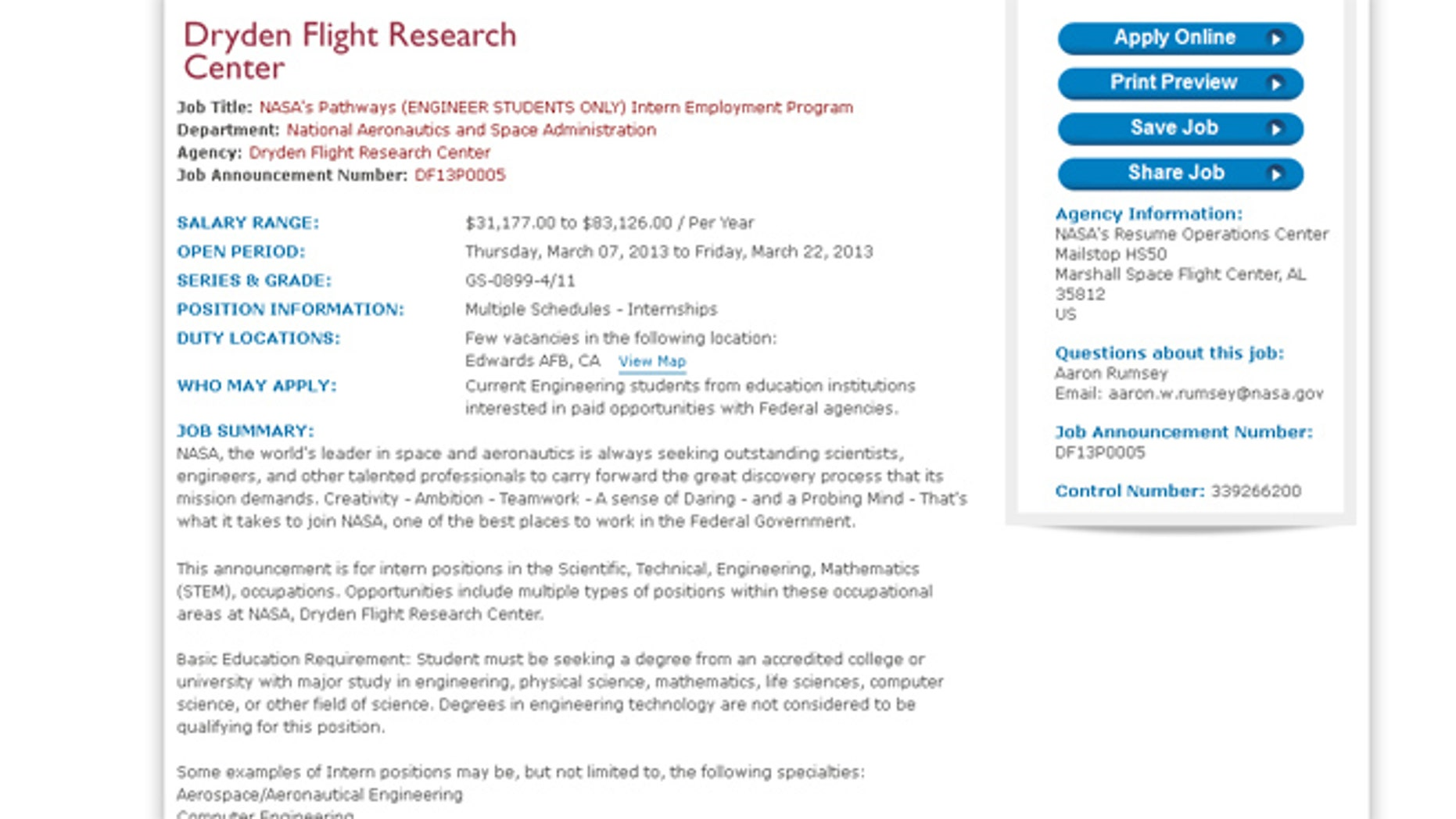 This image shows a listing for internship openings at the NASA Dryden Flight Research Center.