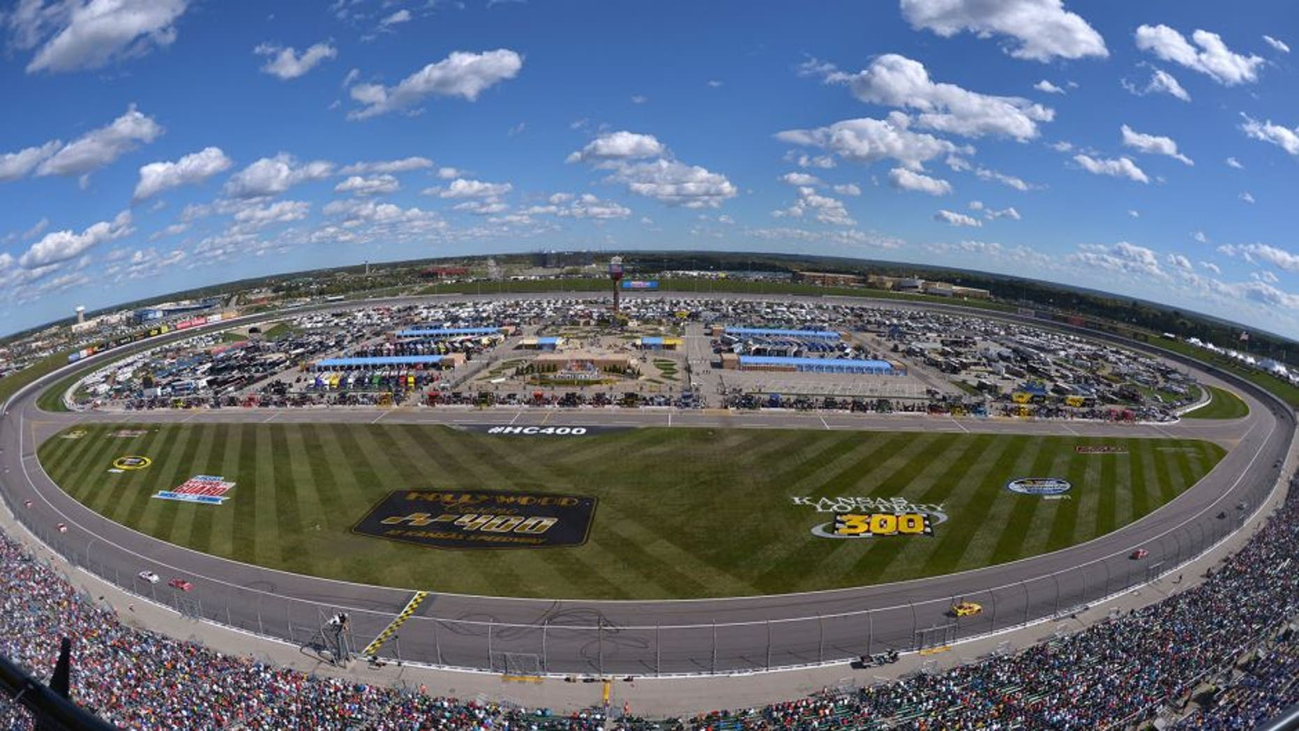 KANSAS CITY, KS - OCTOBER 05: A general view of the track during the NASCAR Sprint Cup Series Hollywood Casino 400 at Kansas Speedway on October 5, 2014 in Kansas City, Kansas. (Photo by Jonathan Moore/Getty Images)
