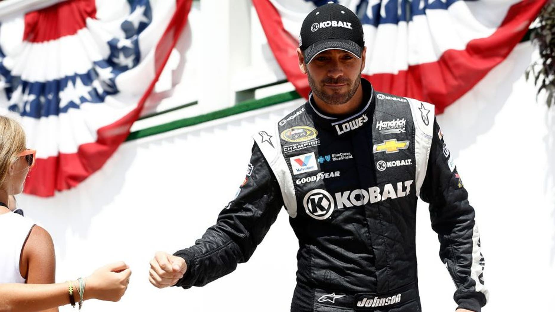 LONG POND, PA - AUGUST 02: Jimmie Johnson, driver of the #48 Kobalt Tools Chevrolet, takes part in pre-race ceremonies for the NASCAR Sprint Cup Series Windows 10 400 at Pocono Raceway on August 2, 2015 in Long Pond, Pennsylvania. (Photo by Jeff Zelevansky/NASCAR via Getty Images)