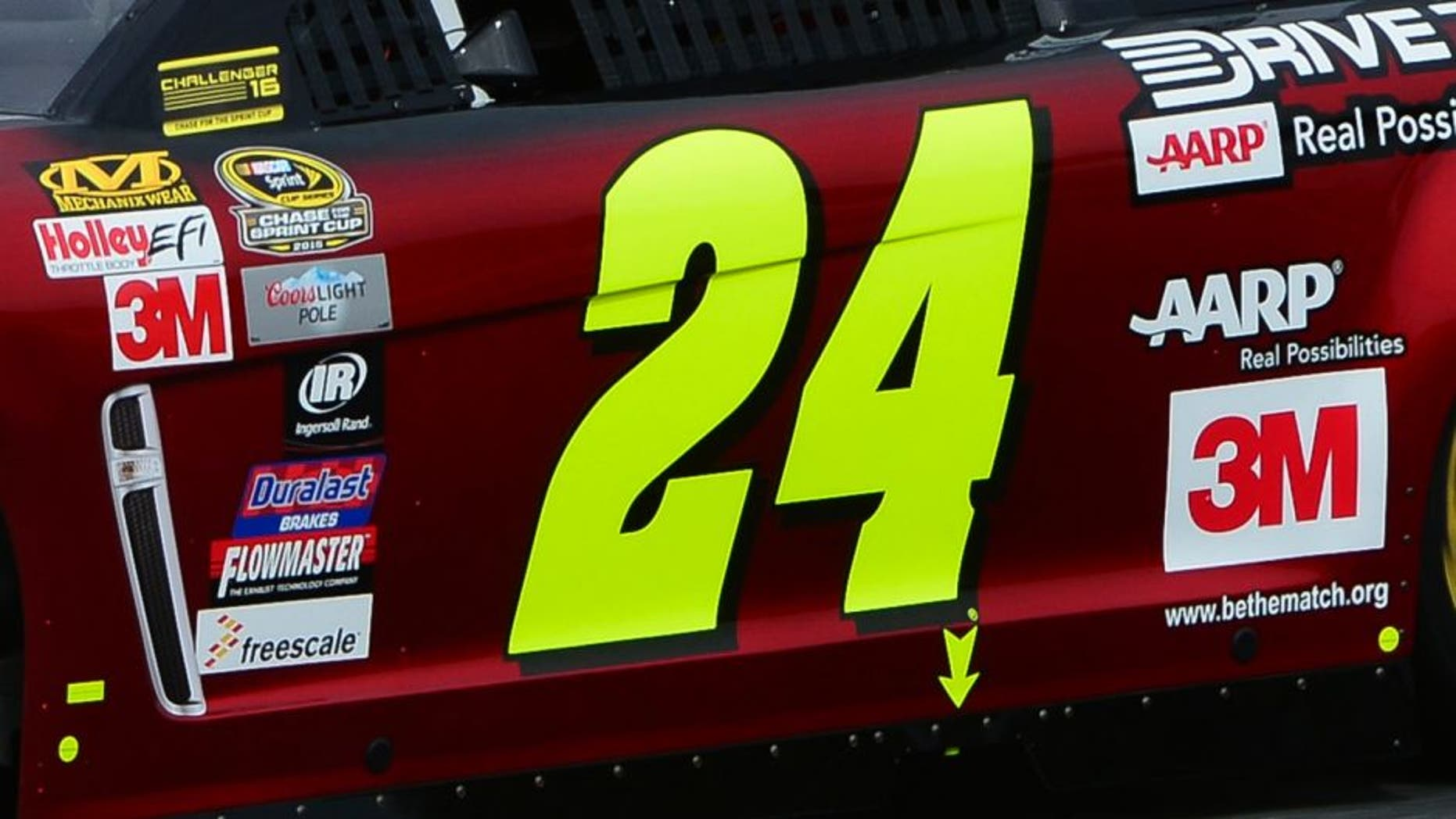 Jeff Gordon, driver of the #24 Drive To End Hunger Chevrolet, practices for the NASCAR Sprint Cup Series Sylvania 300 at New Hampshire Motor Speedway on September 25, 2015 in Loudon, New Hampshire.