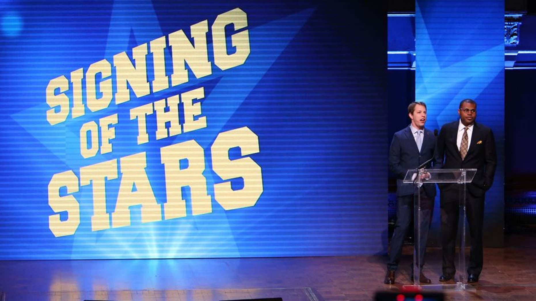 ANN ARBOR, MI - FEBRUARY 3: NASCAR driver Brad Keselowski speaks to the fans during the Michigan Signing of the Stars event at Hill Auditorium on February 3, 2016 in Ann Arbor, Michigan. (Photo by Rey Del Rio/Getty Images)