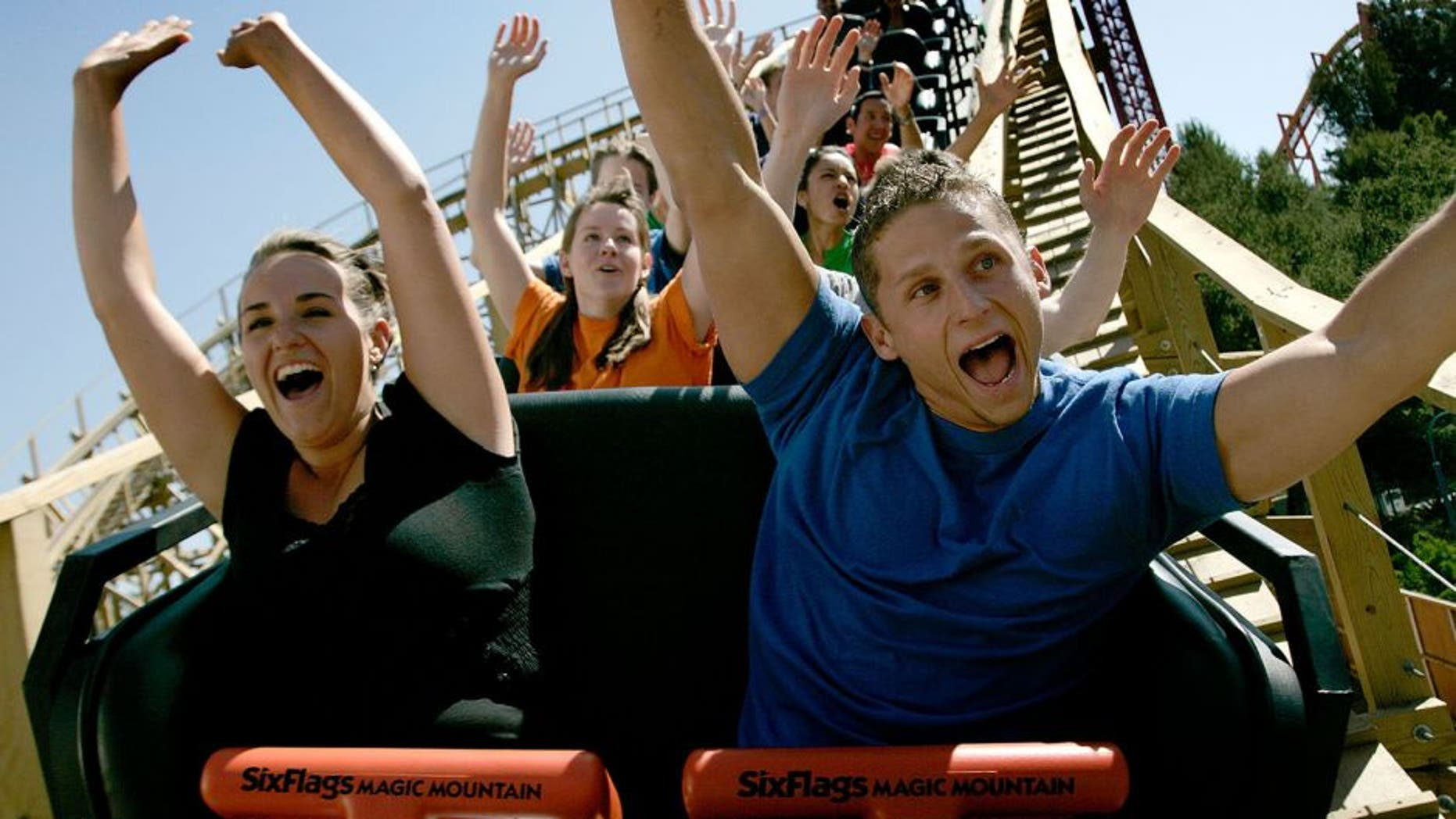 VALENCIA, CA - MAY 21: Park guests ride Terminator Salvation at the Terminator Salvation: The Ride Media Day at Six Flags Magic Mountain on May 21, 2009 in Valencia, California. (Photo by Mathew Imaging/WireImage)