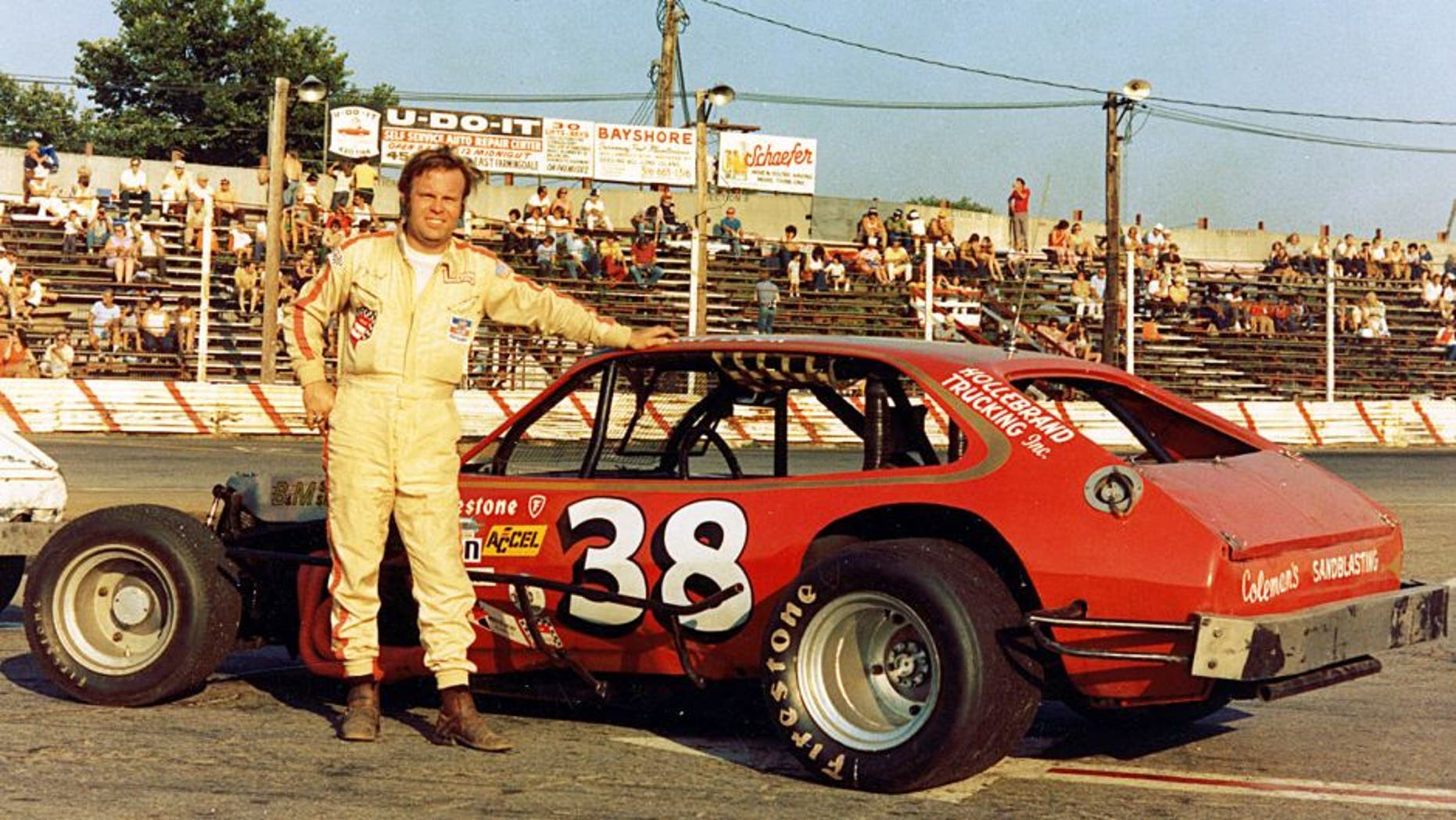 UNKNOWN ? 1971: Jerry Cook of Rome, NY, with one of the Pinto-bodied cars he used on his way to winning the 1971 NASCAR National Modified championship, the first of his six titles. (Photo by ISC Images & Archives via Getty Images)