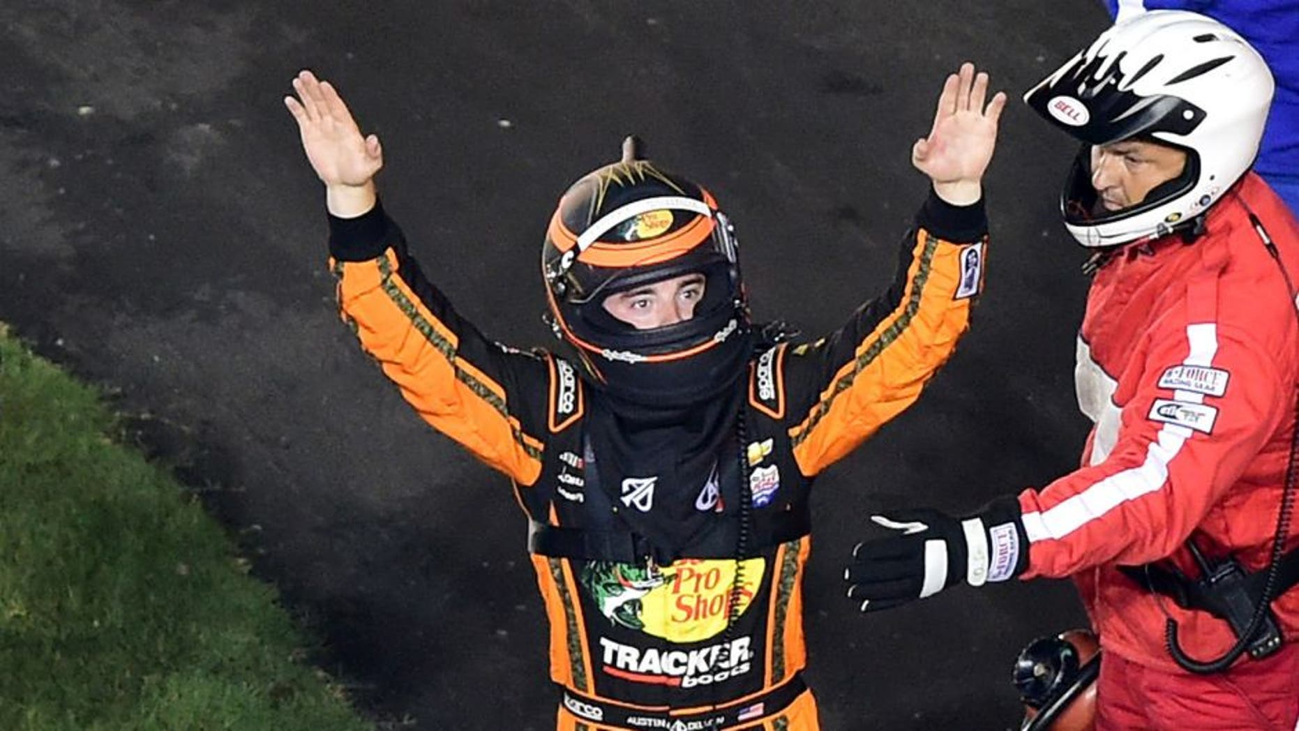 DAYTONA BEACH, FL - JULY 06: Austin Dillon, driver of the #3 Bass Pro Shops Chevrolet, gestures to the crowd after being involved in an on-track incident during the NASCAR Sprint Cup Series Coke Zero 400 Powered by Coca-Cola at Daytona International Speedway on July 6, 2015 in Daytona Beach, Florida. (Photo by Jared C. Tilton/NASCAR via Getty Images)