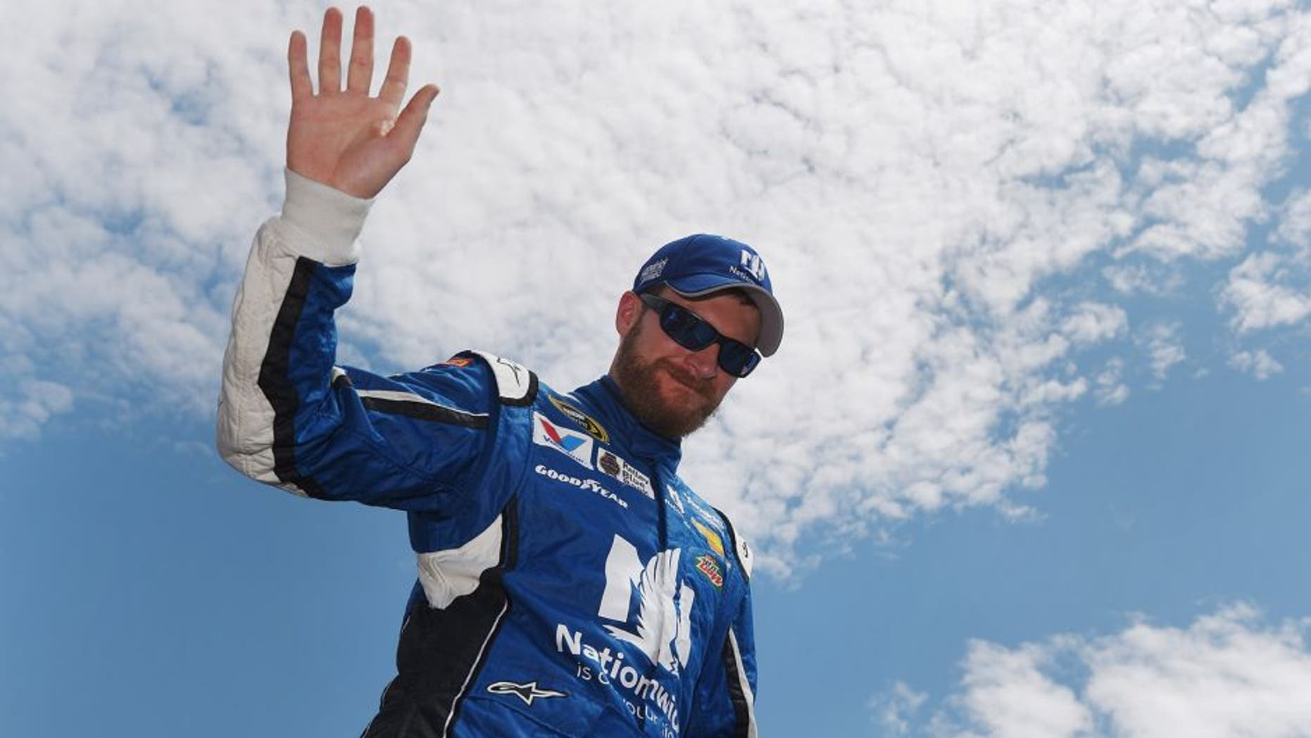 LOUDON, NH - JULY 19: Dale Earnhardt Jr., driver of the #88 Nationwide Chevrolet, is introduced prior to the NASCAR Sprint Cup Series 5-Hour ENERGY 301 at New Hampshire Motor Speedway on July 19, 2015 in Loudon, New Hampshire. (Photo by Rainier Ehrhardt/Getty Images)