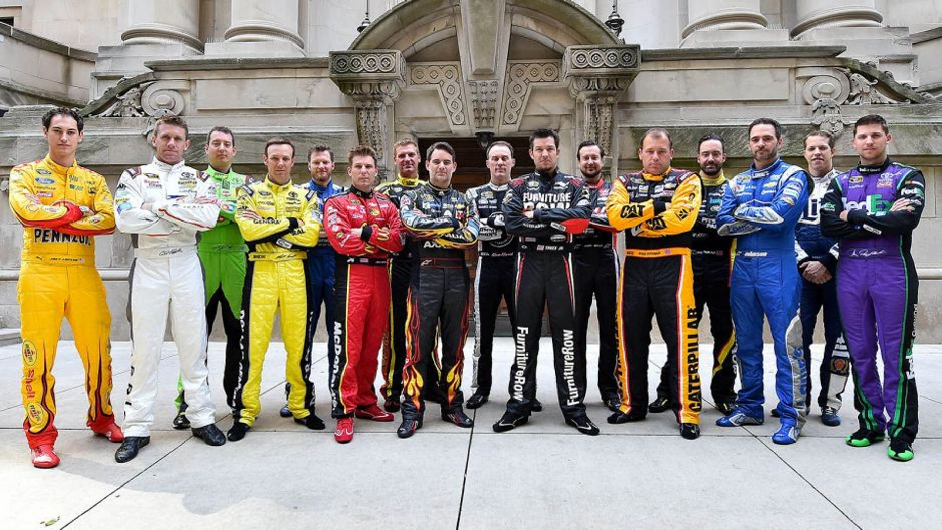 Sep 17, 2015; Chicago, IL, USA; NASCAR Sprint Cup Series drivers pose for a picture during the The Chase for the NASCAR Sprint Cup Media Day at The Murphy Chicago. Mandatory Credit: Jasen Vinlove-USA TODAY Sports