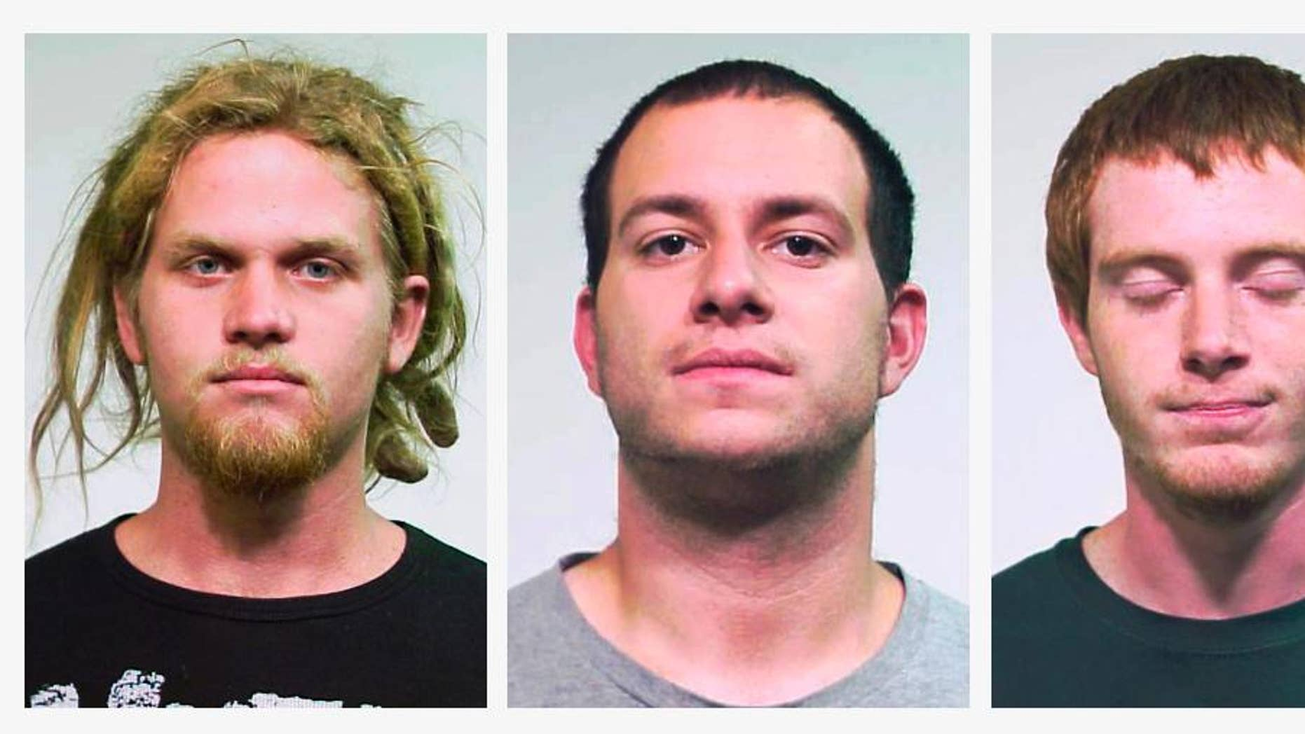FILE - This combo made of undated file photos provided by the Chicago Police Department shows from left, Brent Vincent Betterly, of Oakland Park, Fla., Jared Chase, of Keene, N.H., and Brian Church, of Ft. Lauderdale, Fla. A jury in Chicago acquitted the three NATO summit protesters on Feb. 7, 2014 on Illinois terrorism charges, but did convict them on lesser arson counts. Sentencing for the three is expected to begin Friday, April 25, 2014.  (AP Photo/Chicago Police Department, File)