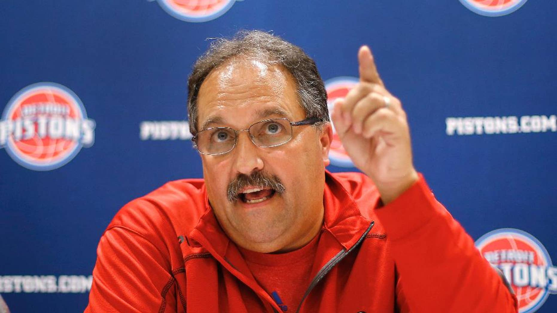 Stan Van Gundy, Detroit Pistons head coach and president of basketball operations, speaks about the NBA basketball draft during a news conference Tuesday, June 24, 2014, in Auburn Hills, Mich. Van Gundy has a plan to turn around the Pistons and it probably will not include this year's draft because the once-proud franchise does not have a first-round pick. (AP Photo/Paul Sancya)