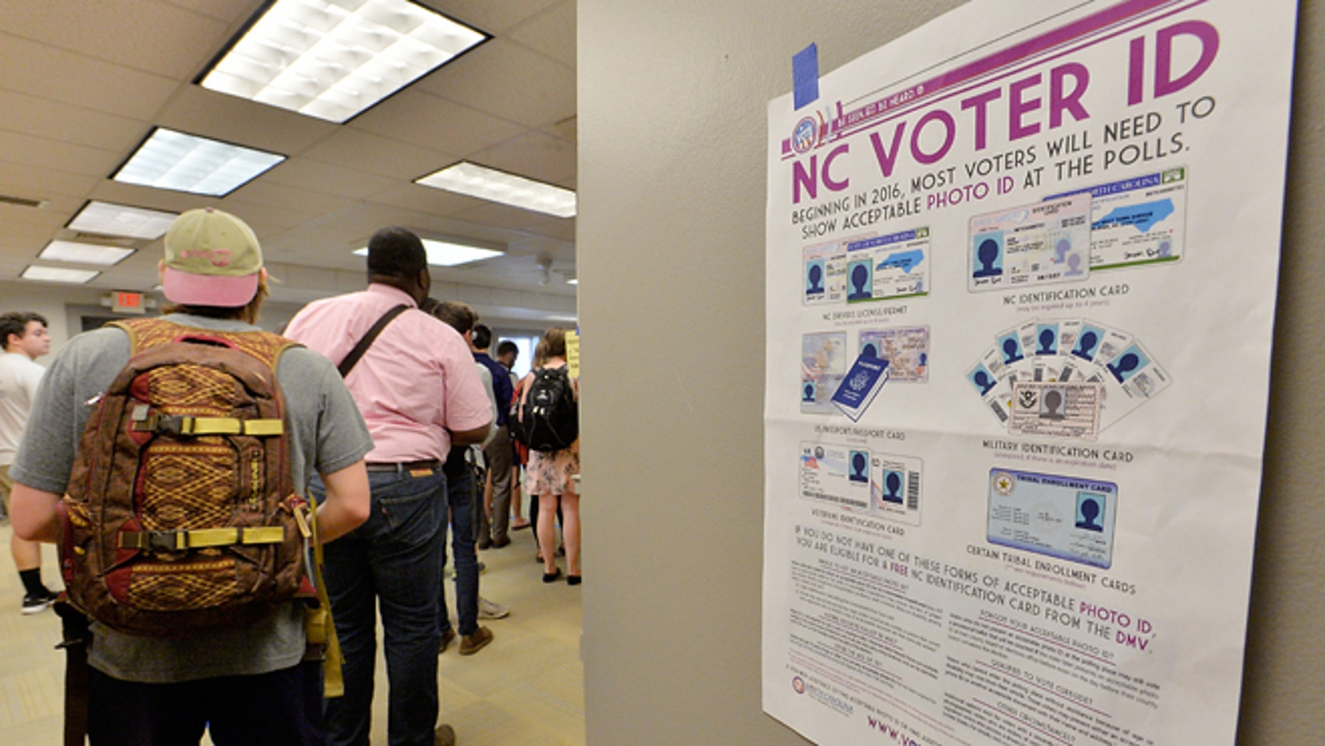 Students wait in line to vote in the primaries at Pullen Community Center on March 15, 2016 in Raleigh, North Carolina.