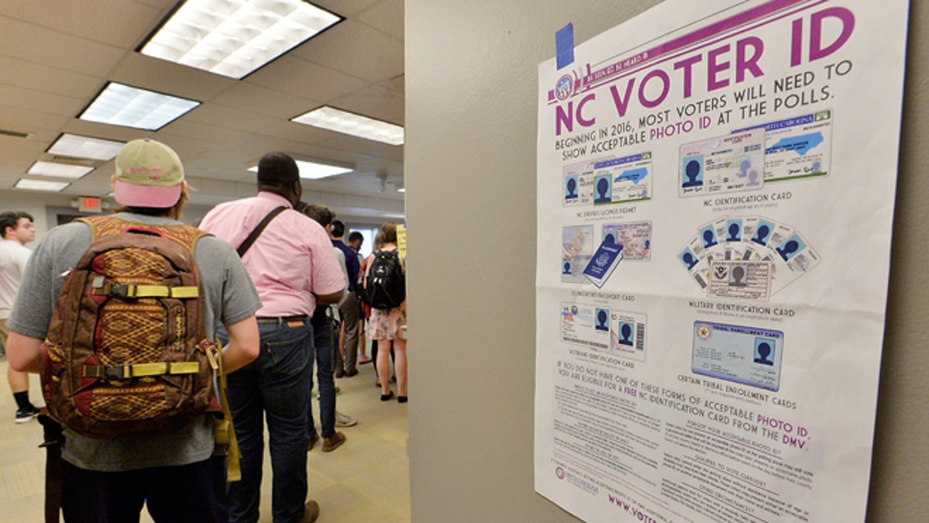 North Carolina State University students wait in line to vote in the primaries at Pullen Community Center on March 15, 2016.