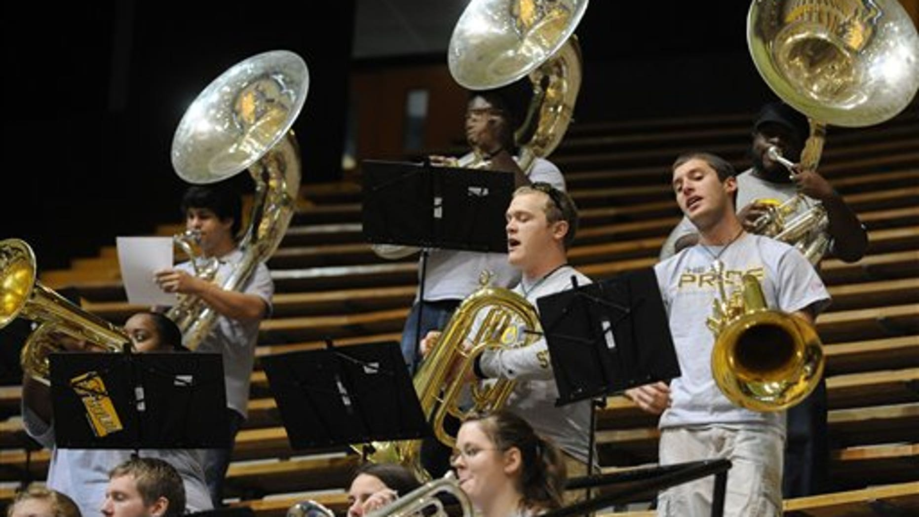 Jan. 8: Members of the Southern Miss Pep Band perform during an NCAA college basketball game against Houston at the University of Southern Mississippi in Hattiesburg, Miss.