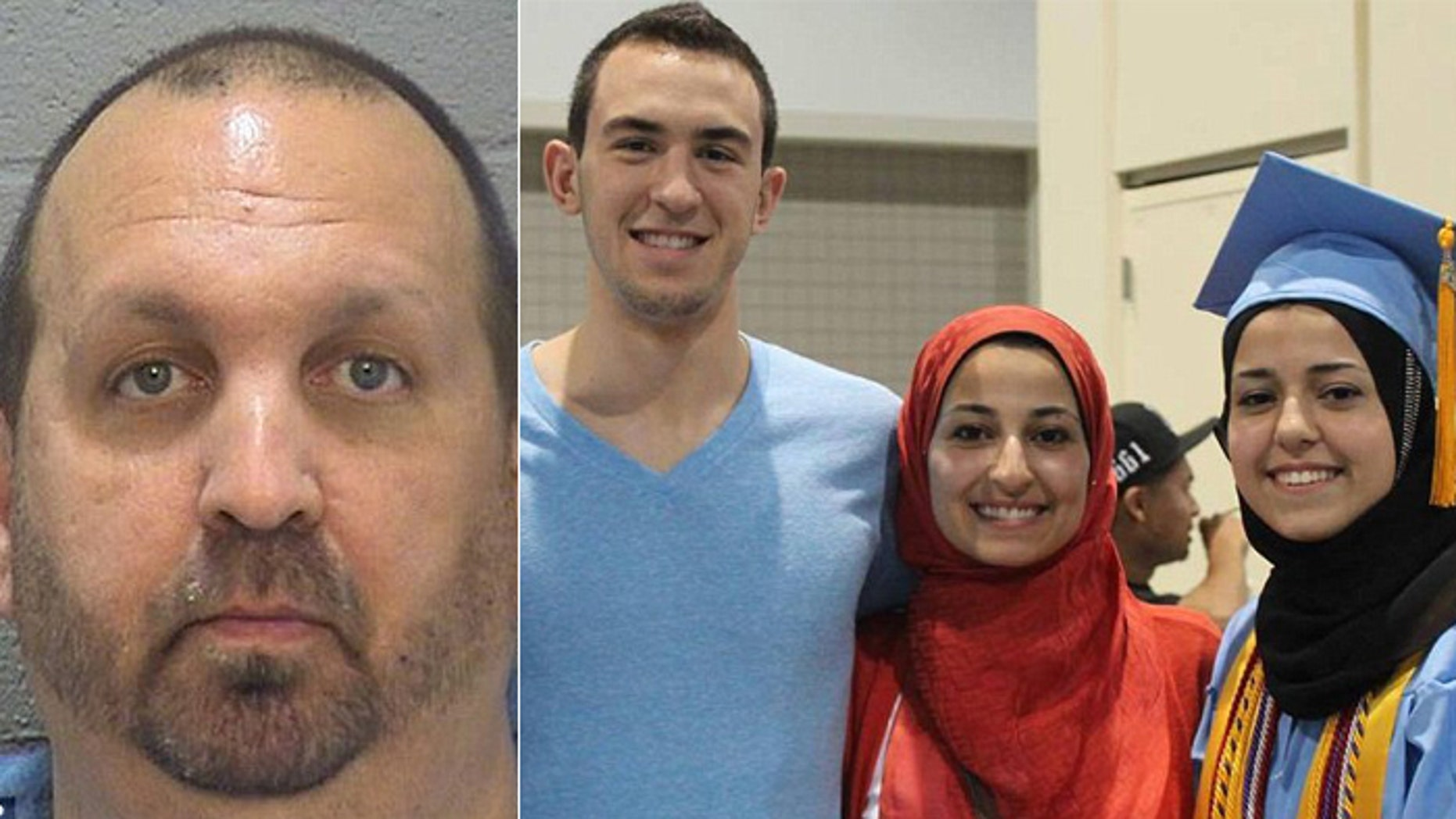 Craig Stephen Hicks, (l.), is suspected of gunning down neighbors Deah Shaddy Barakat; his wife, Yusor Abu-Salha, 21; and her sister, shown left to right in photo on right.