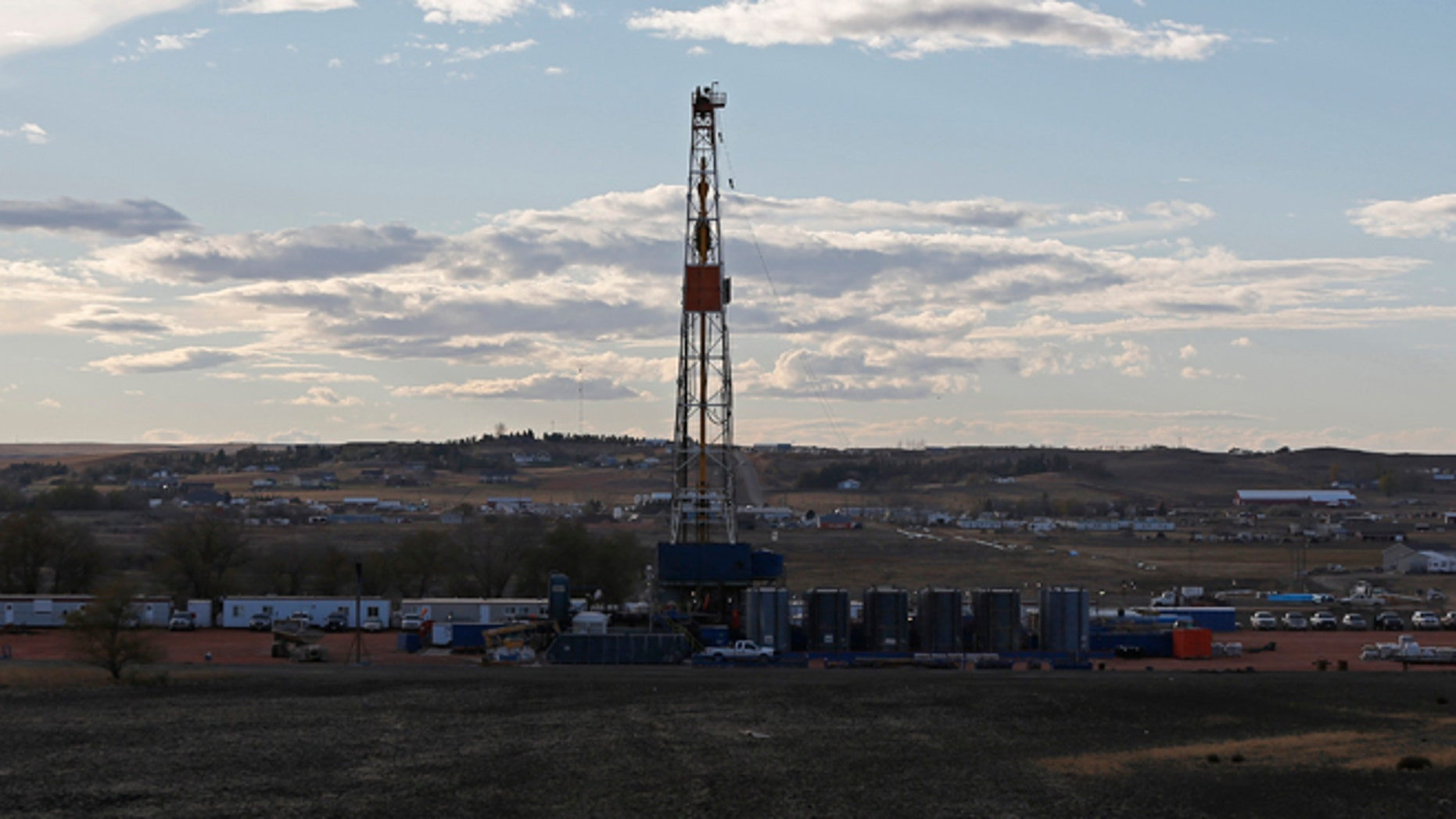 This undated photo shows an oil drilling rig outside Watford, North Dakota.