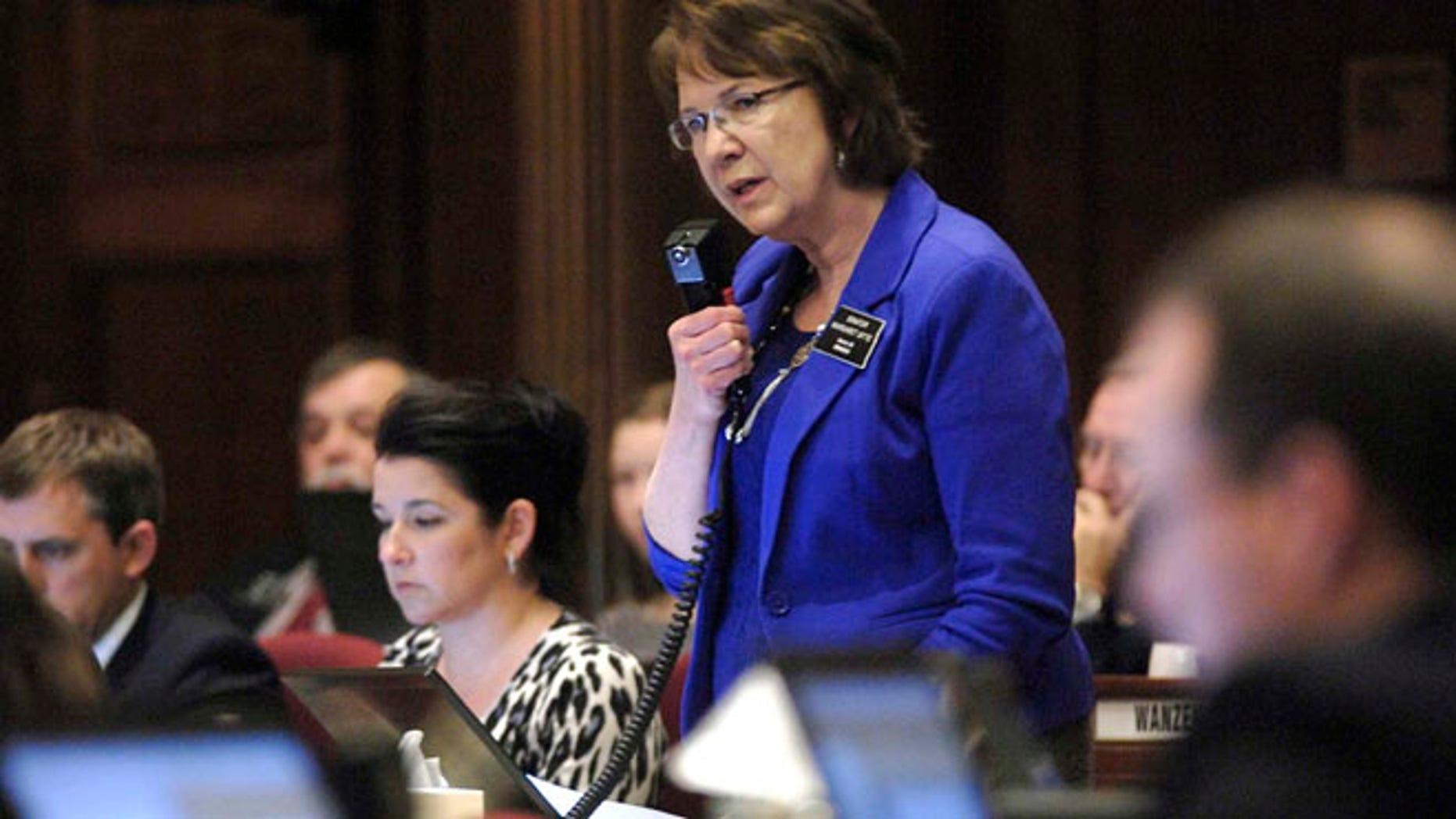 March 15, 2013: North Dakota state Sen. Margaret Sitte, R-Bismarck, speaks in favor of HB1305 during the chamber floor debate at the state Capitol in Bismarck, N.D.