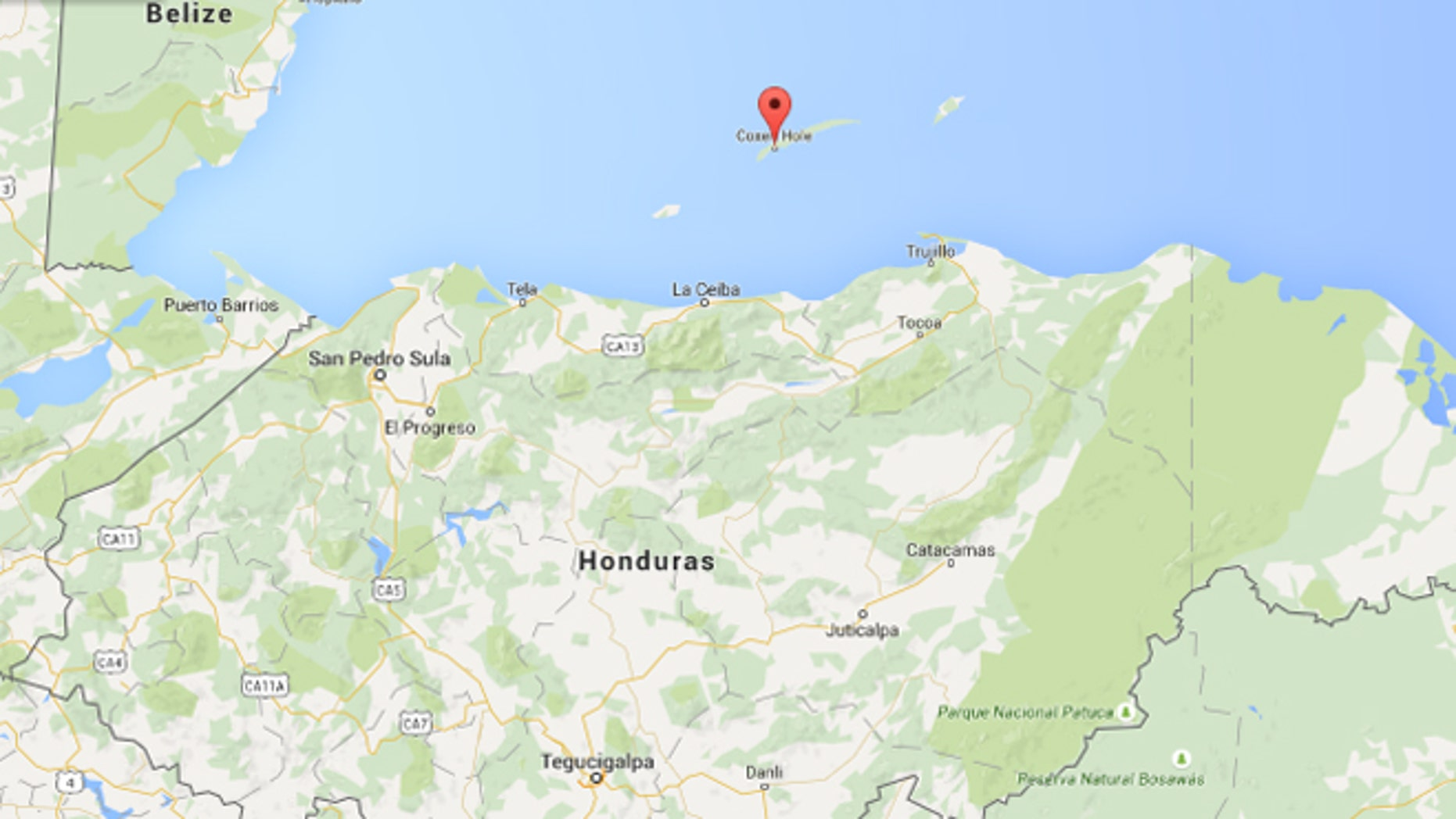 The island of Roatán (with the pin). (Source: Google Maps)