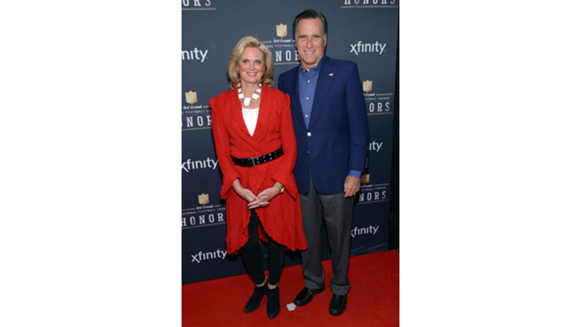 February 1, 2014: Ann and Mitt Romney arrive at the third annual NFL Honors at Radio City Music Hall in New York. (Photo by Evan Agostini/Invision for NFL/AP Images)