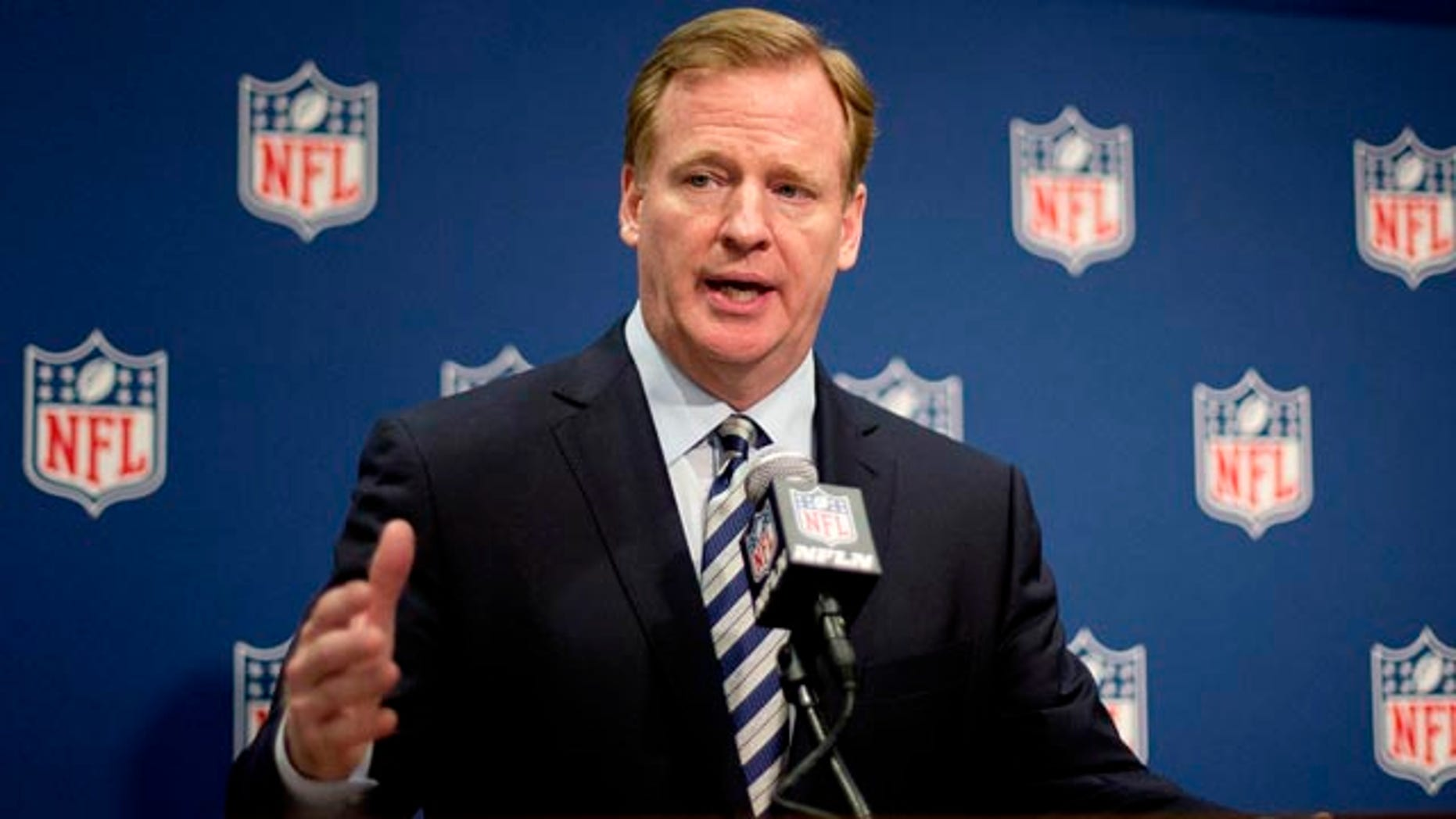 May 20, 2014: NFL Commissioner Roger Goodell speaks at a press conference at the NFL's spring meeting in Atlanta. (AP Photo/David Goldman)
