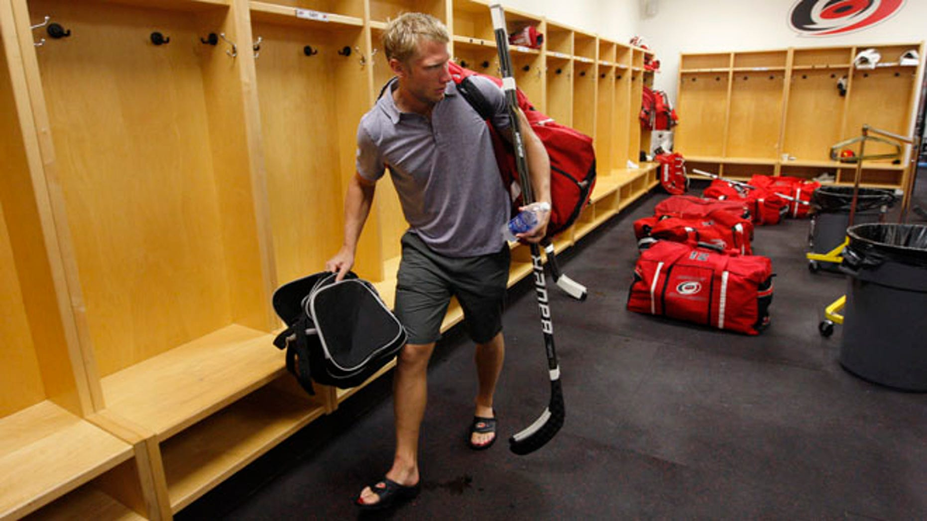 Sept. 14, 2012: Carolina Hurricanes' Jordan Staal leaves the locker room after the NHL hockey team's informal workout at Raleigh Center Ice in Raleigh, N.C.