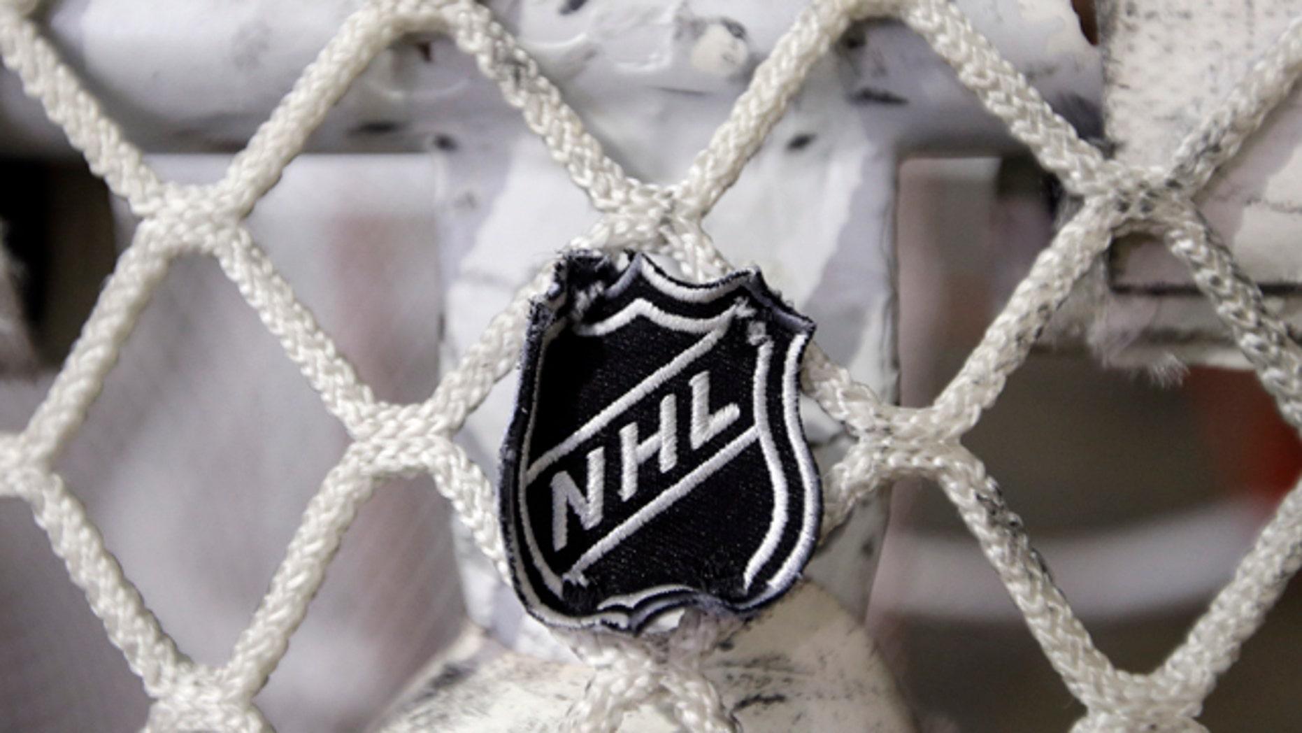 Sept. 17, 2012: The NHL logo is seen on a goal at a Nashville Predators practice rink in Nashville, Tenn. (AP)