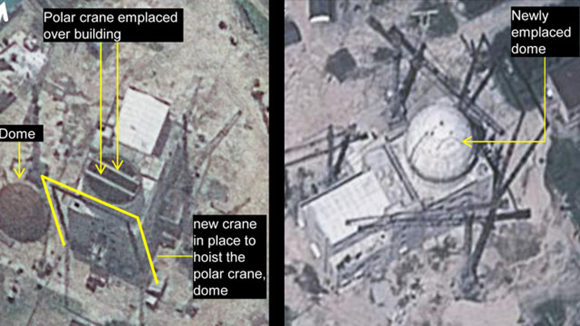 The combination of these two file satellite images taken, from left, June 24 and Aug. 6, 2012, by GeoEye-1 satellite, and released by IHS Jane's Defence Weekly, shows development of a building construction at Yongbyon Nuclear Scientific Research Center in North Korea. (AP Photo)